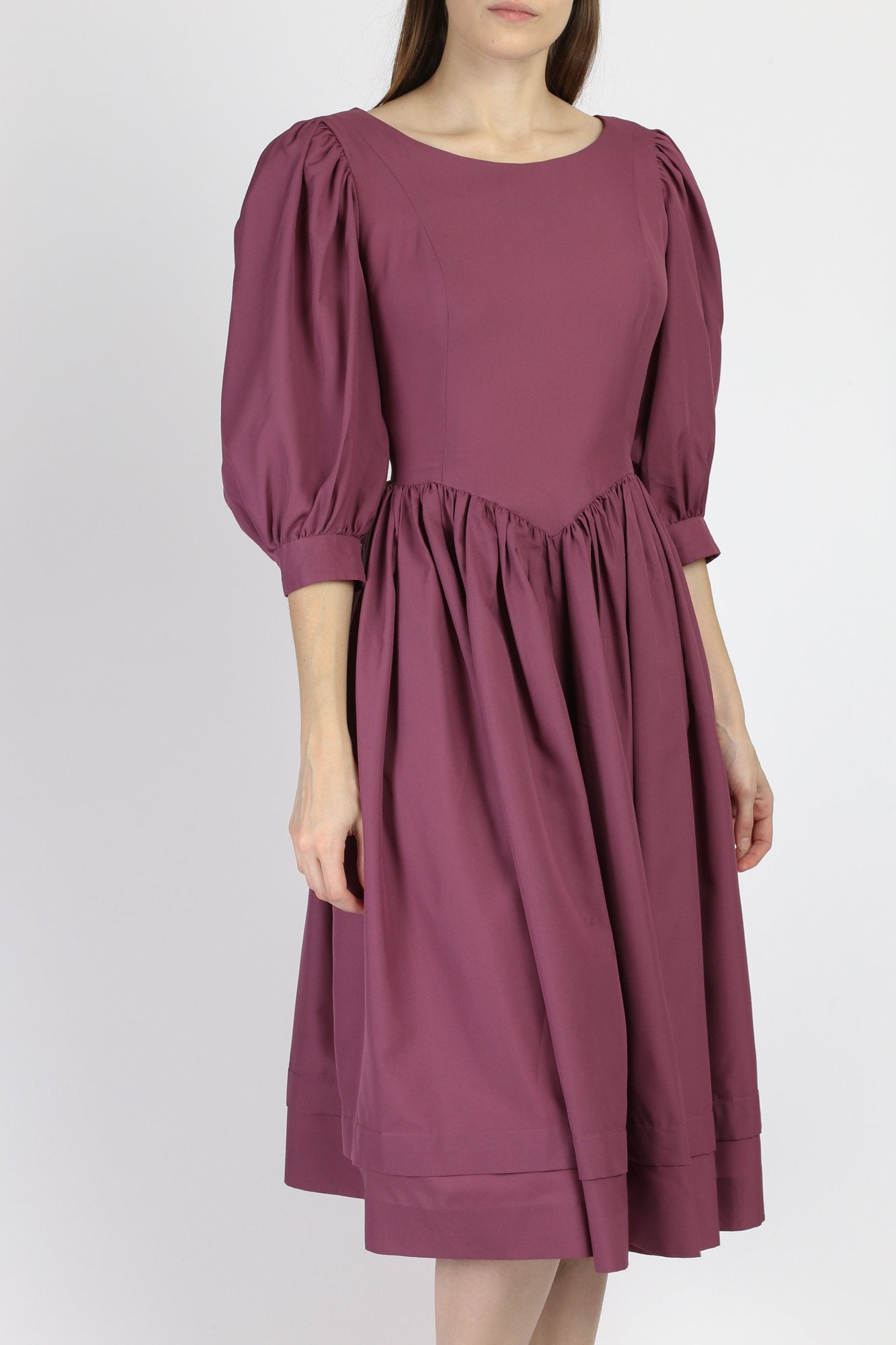 Vintage Purple Puff Sleeve Midi Dress - Extra Small
