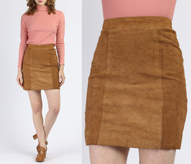 Vintage Boho Suede Mini Pencil Skirt - Small