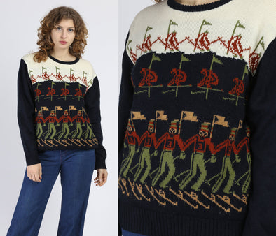 Retro 70s Ski Sweater - Medium