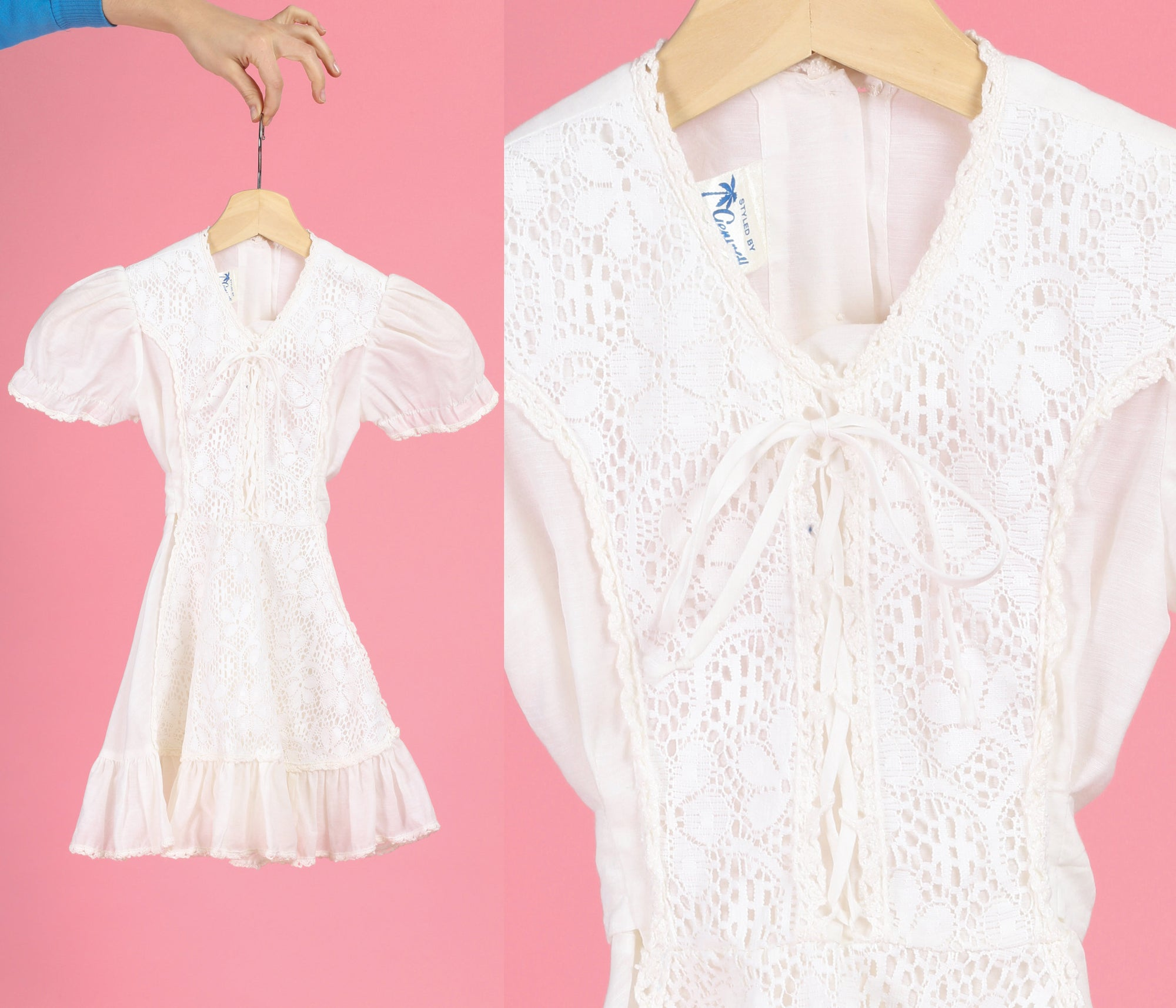 70s Boho White Crochet Lace Up Girl's Dress - Size 5