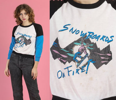 "80s ""Snowboards On Fire!"" Cropped Graphic Sweatshirt - Small"