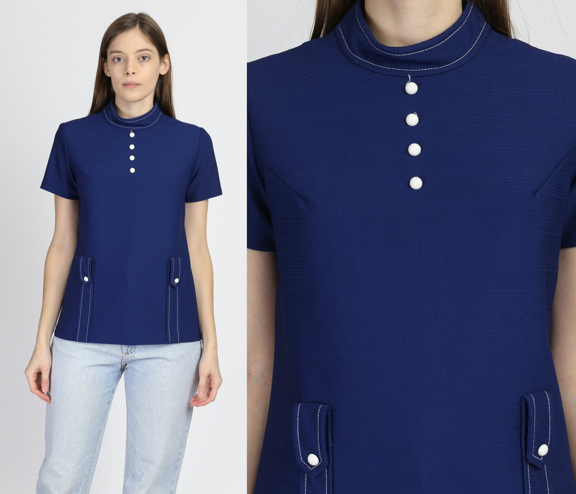 70s Mod Navy Blue Top - Small