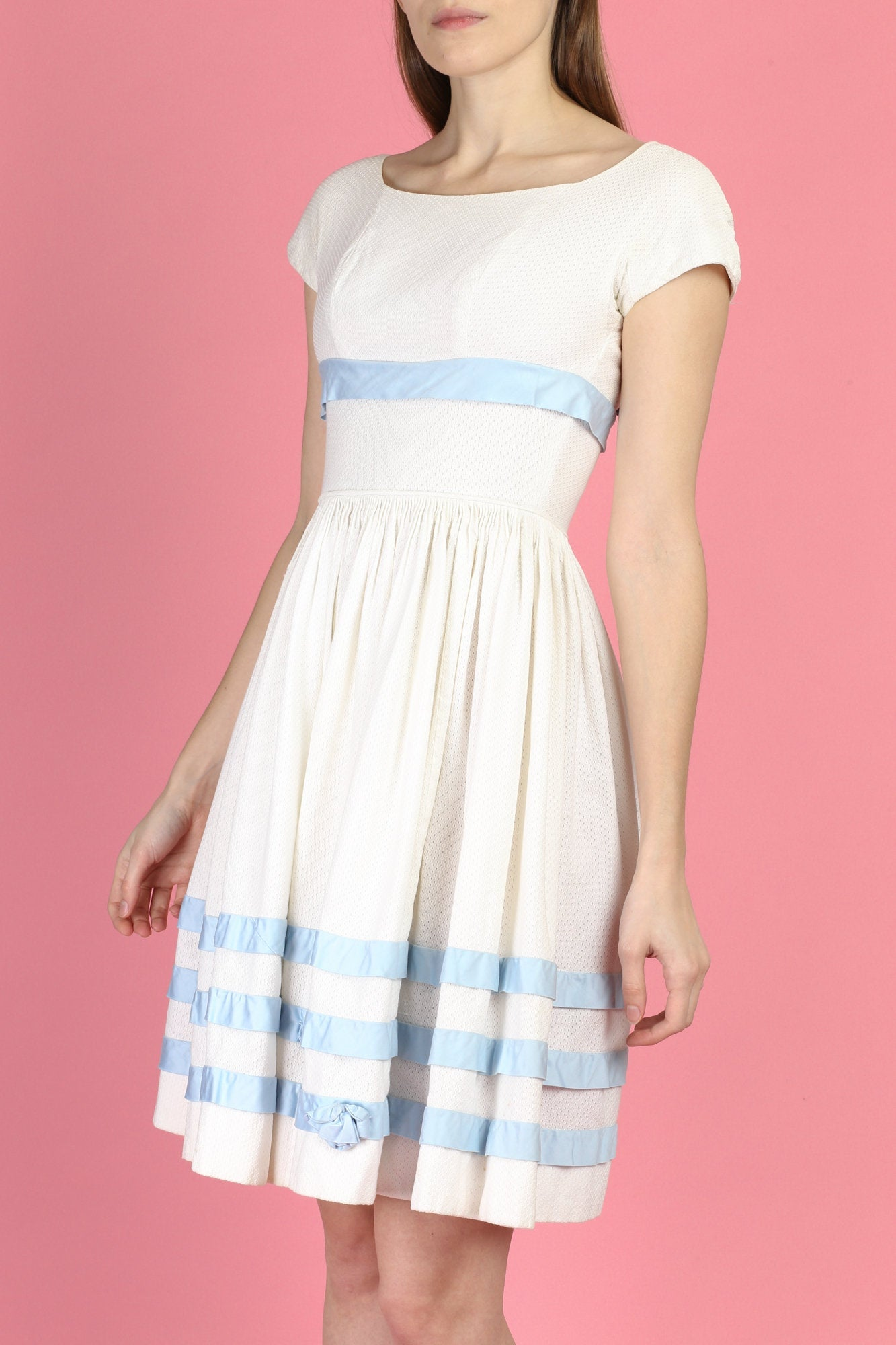50s 60s Boho White & Blue Cotton Day Dress - XXS