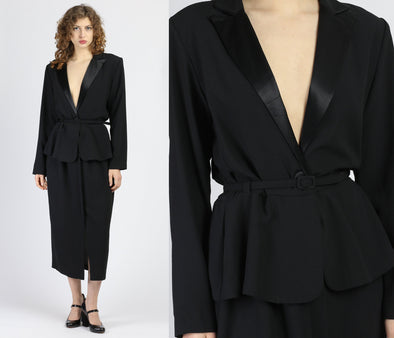 80s Black Deep V Midi Suit Dress - Medium to Large