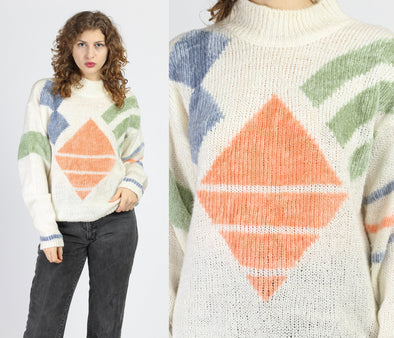 80s Geometric Color Block Funnel Neck Sweater - Large