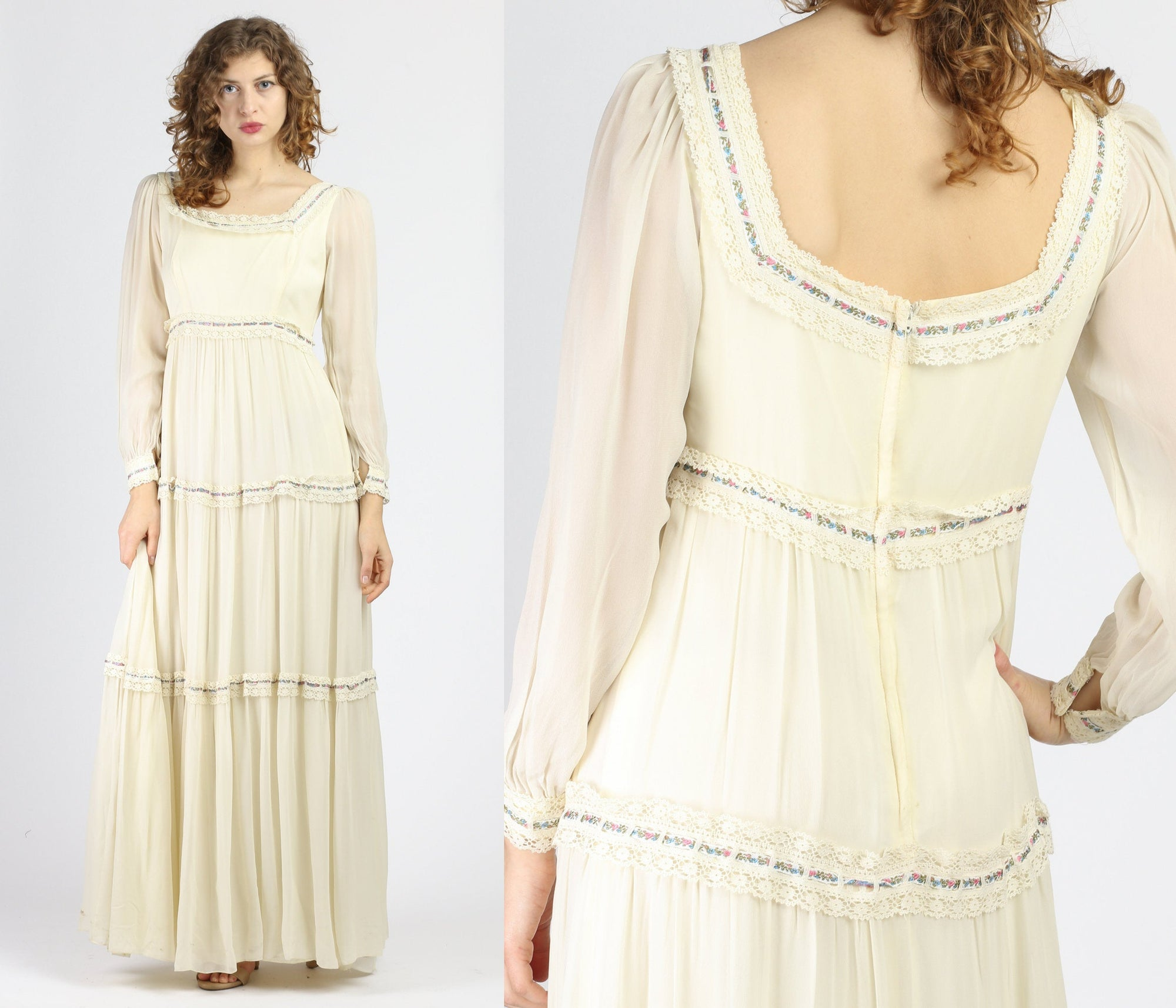 60s 70s Boho Lace & Floral Trim Prairie Gown - Medium