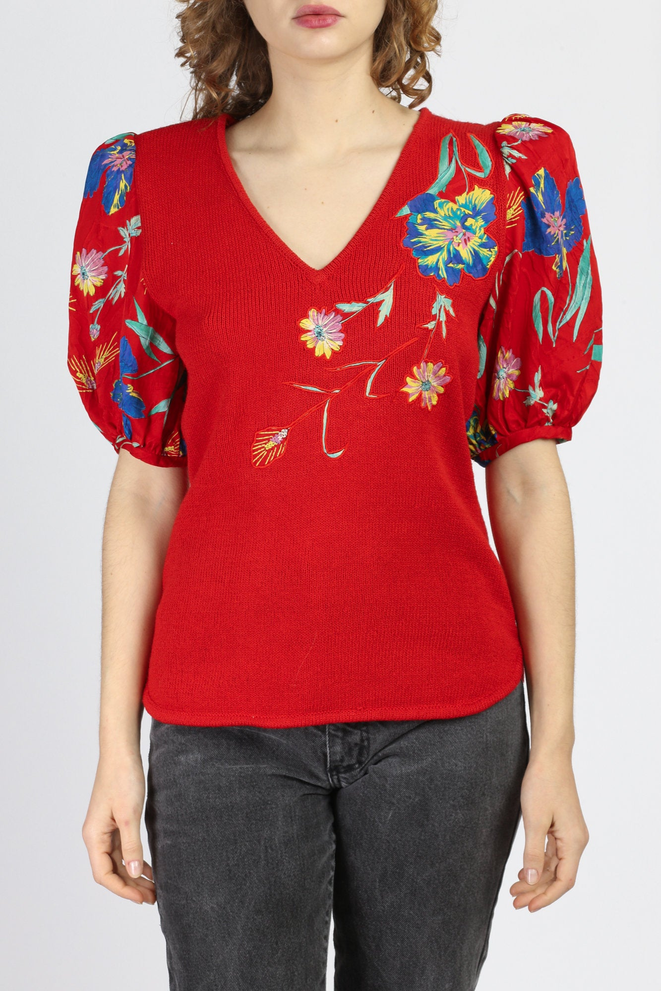 80s Red Knit Floral Puff Sleeve Top - Small