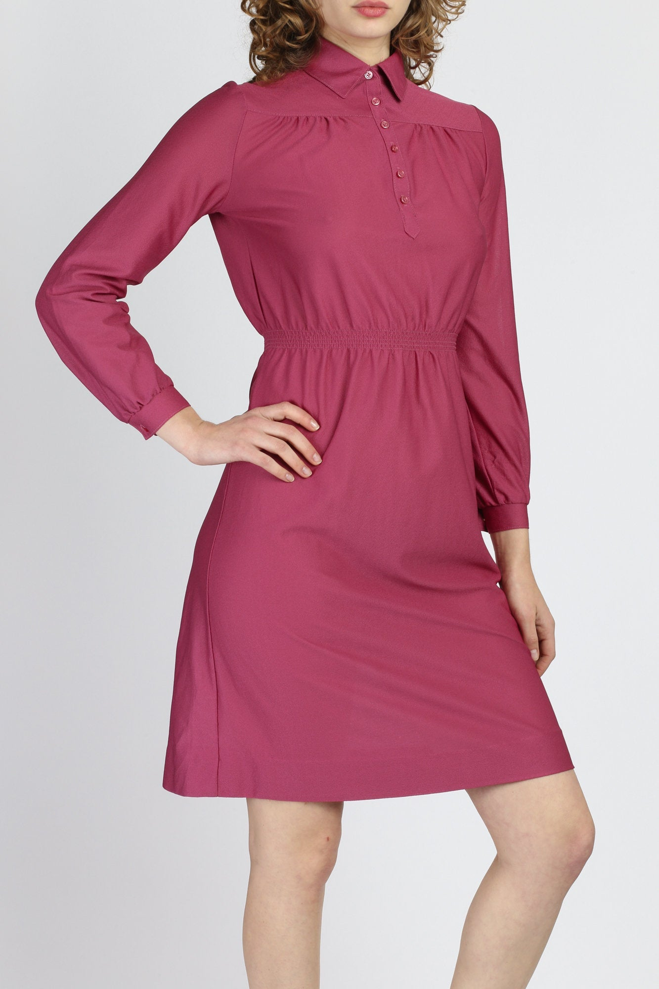70s Magenta Long Sleeve Mini Dress - Small