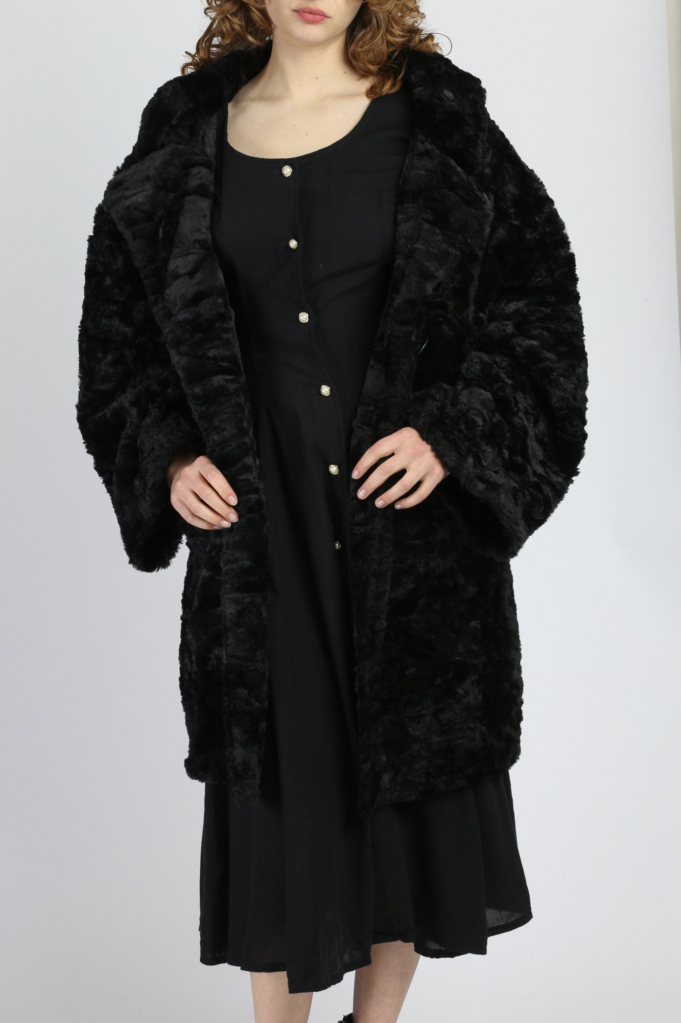 Vintage Express Plush Black Faux Fur Coat - Medium
