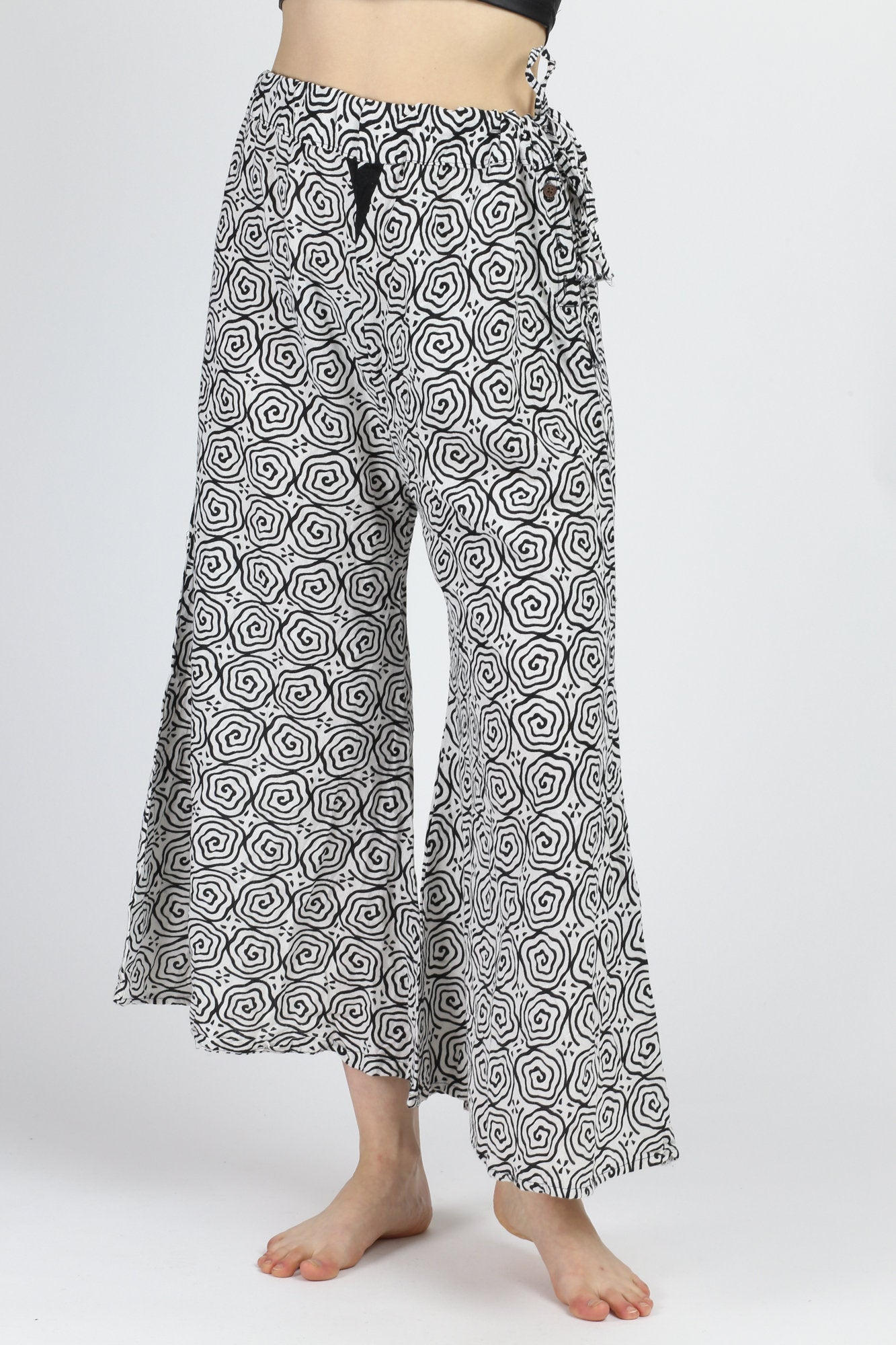 Vintage Ethnic Flared Palazzo Pants - One Size