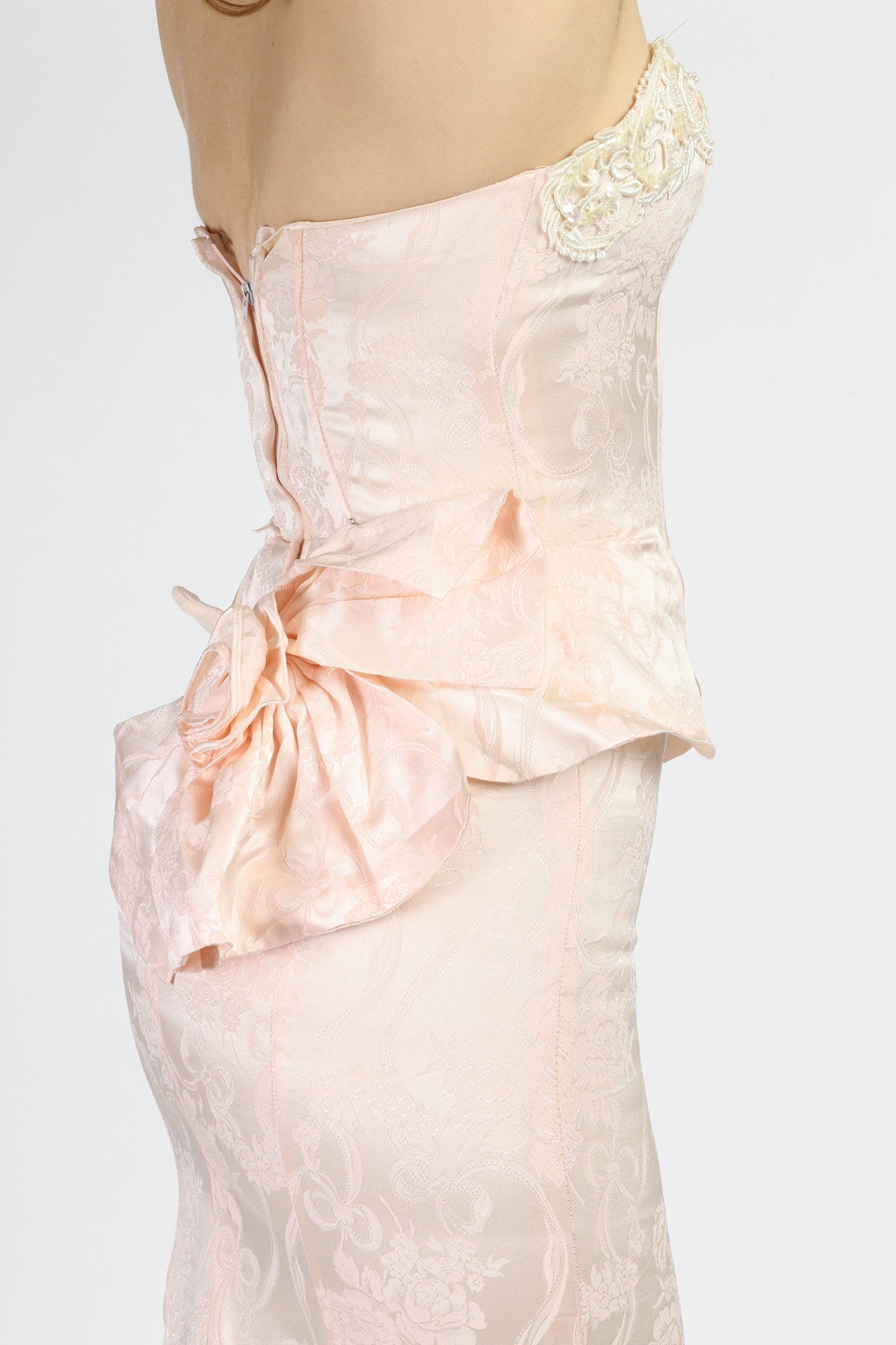 80s Strapless Baby Pink Scott McClintock Dress - Extra Small