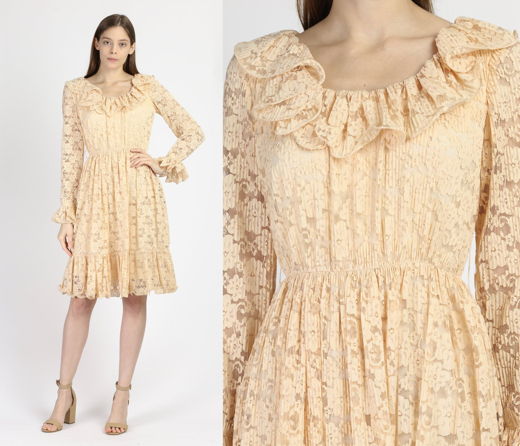 60s 70s Jack Bryan Peach Lace Ruffle Mini Dress - Extra Small