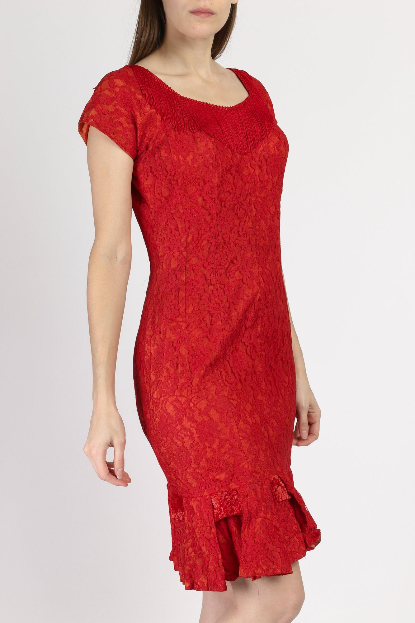 60s Red Lace Fringe Party Dress - Medium