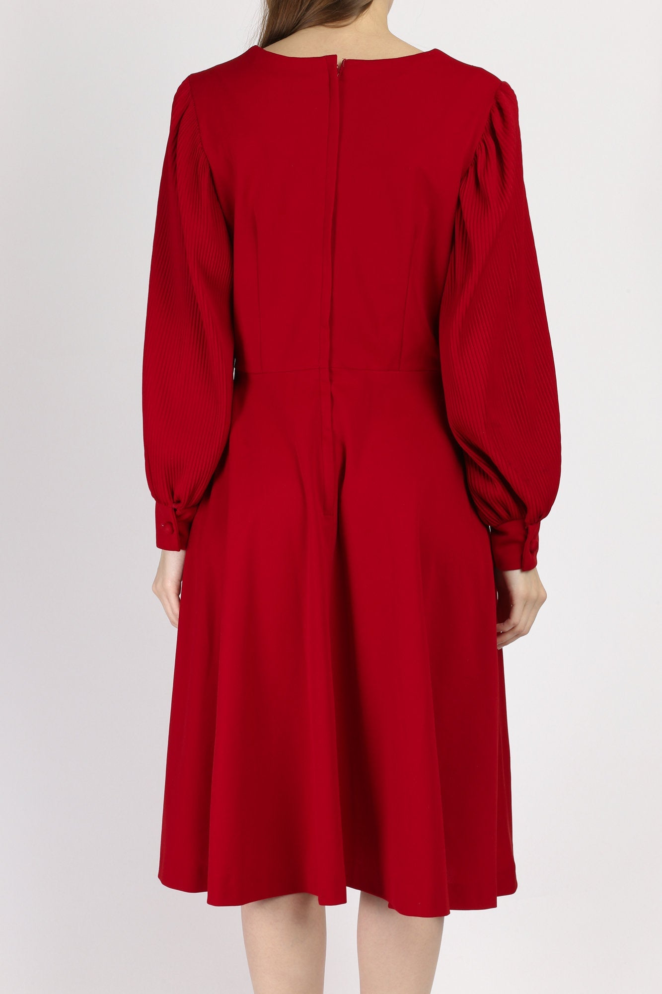 70s Red Balloon Sleeve Midi Dress - Medium to Large