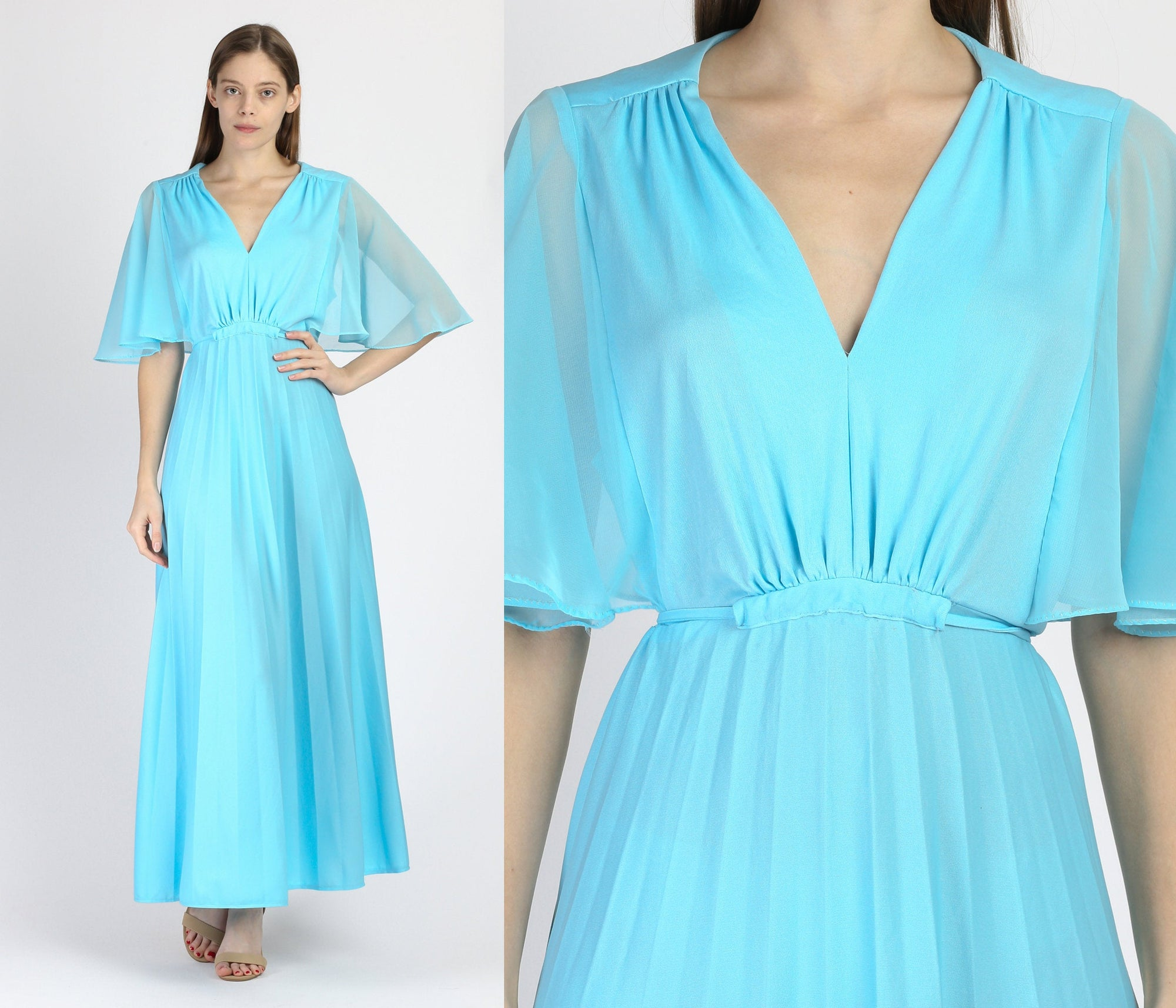 70s Blue Sheer Flutter Sleeve Disco Gown - Extra Large