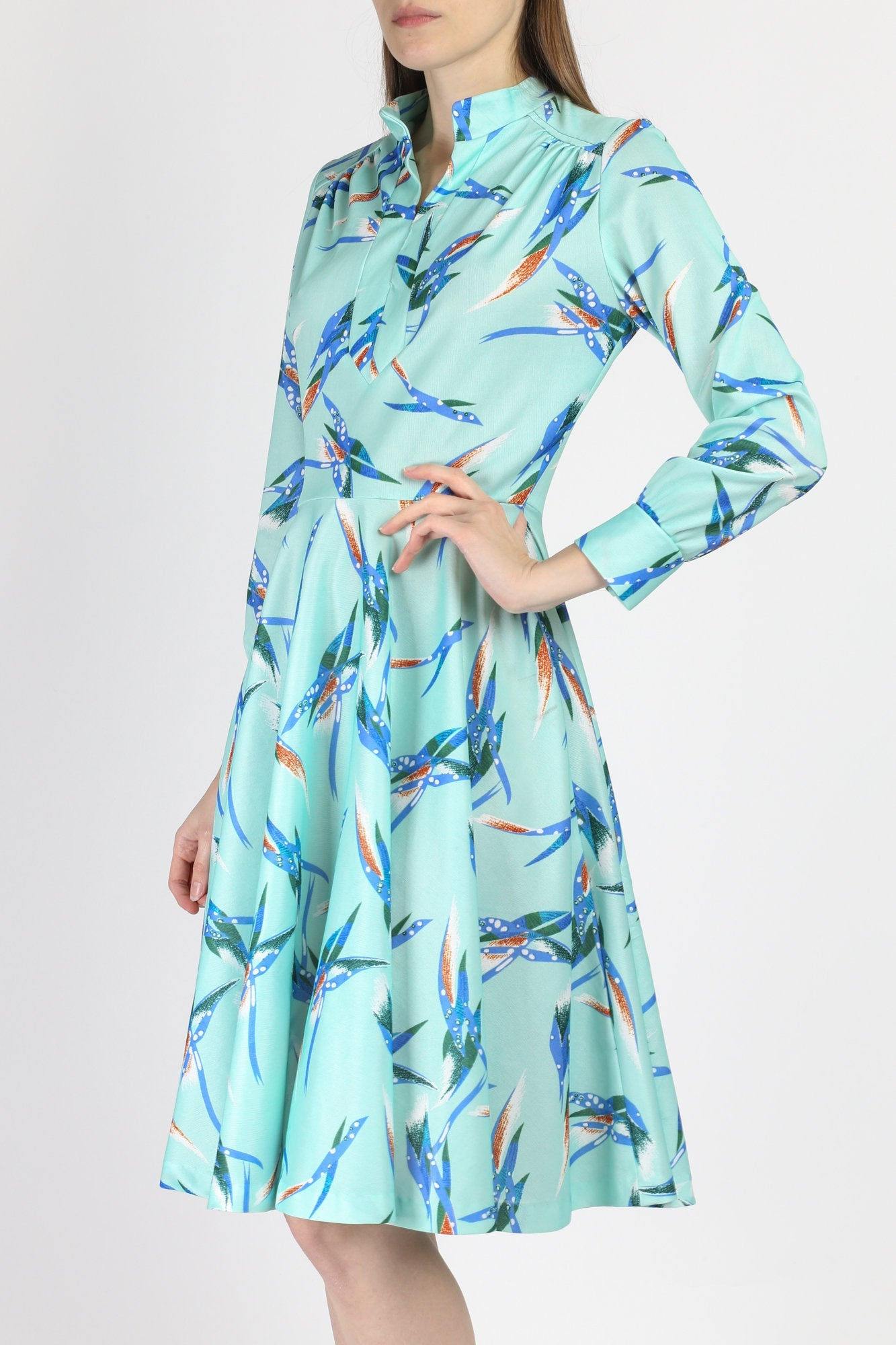 Retro 70s Turquoise Long Sleeve Dress - Medium