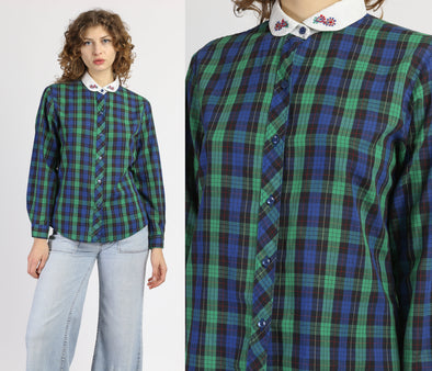 Vintage Plaid Peter Pan Collar Top - Medium