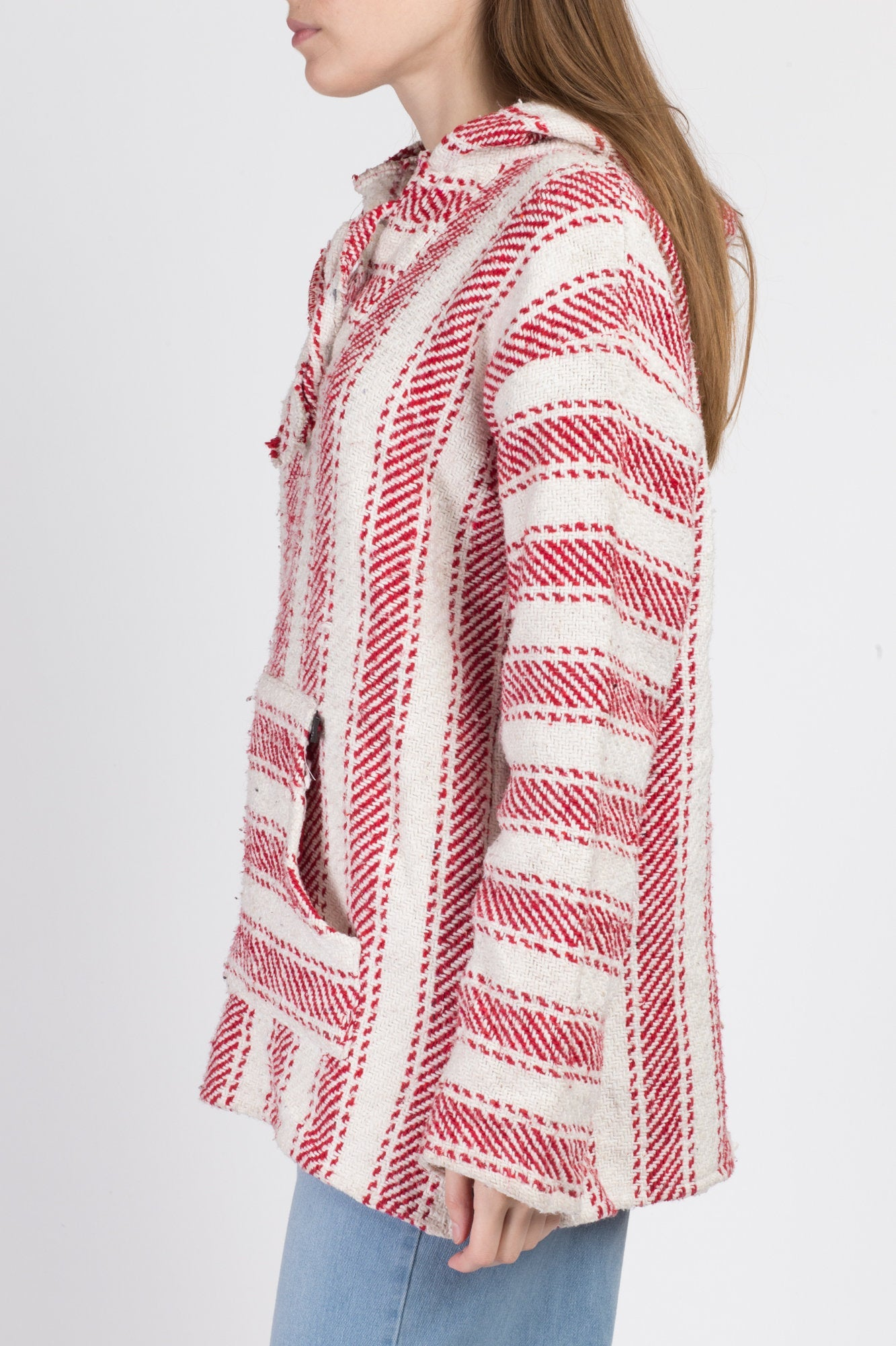 90s Red & White Striped Drug Rug Hoodie - Large