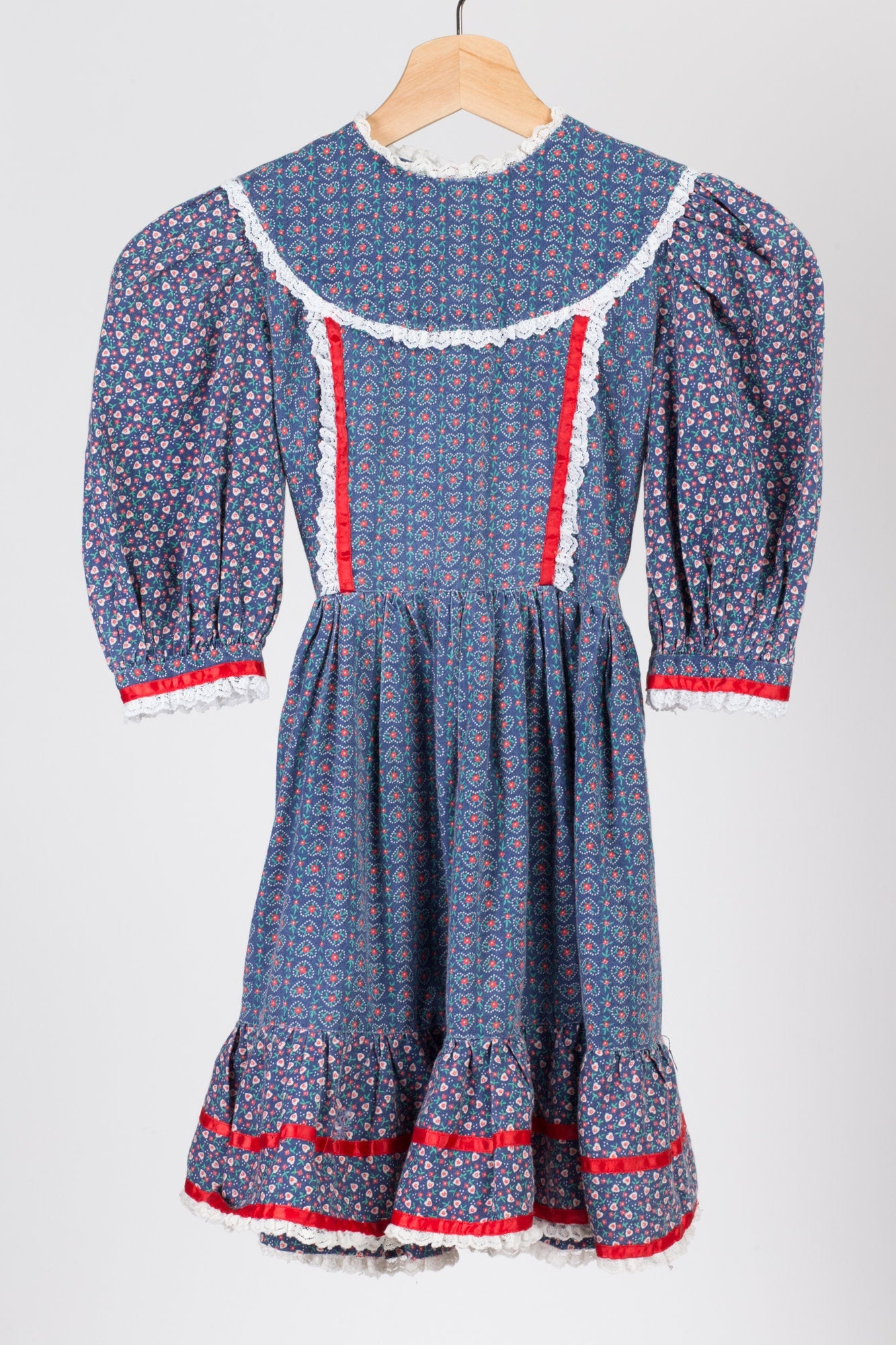 60s 70s Girl's Floral Heart Print Dress - Small