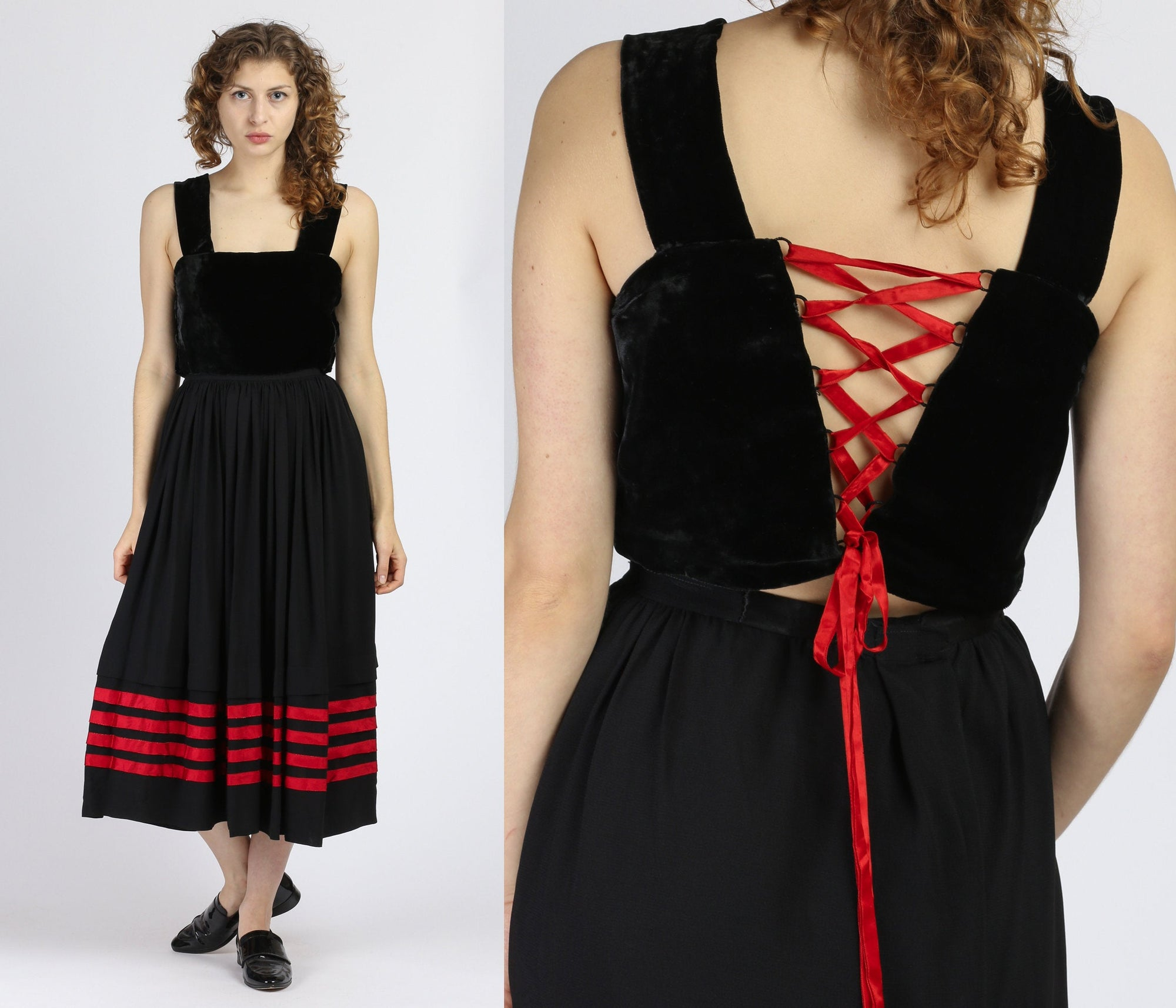 Vintage 1940s Black & Red Lace Up Corset Velvet Dress - Small to Medium