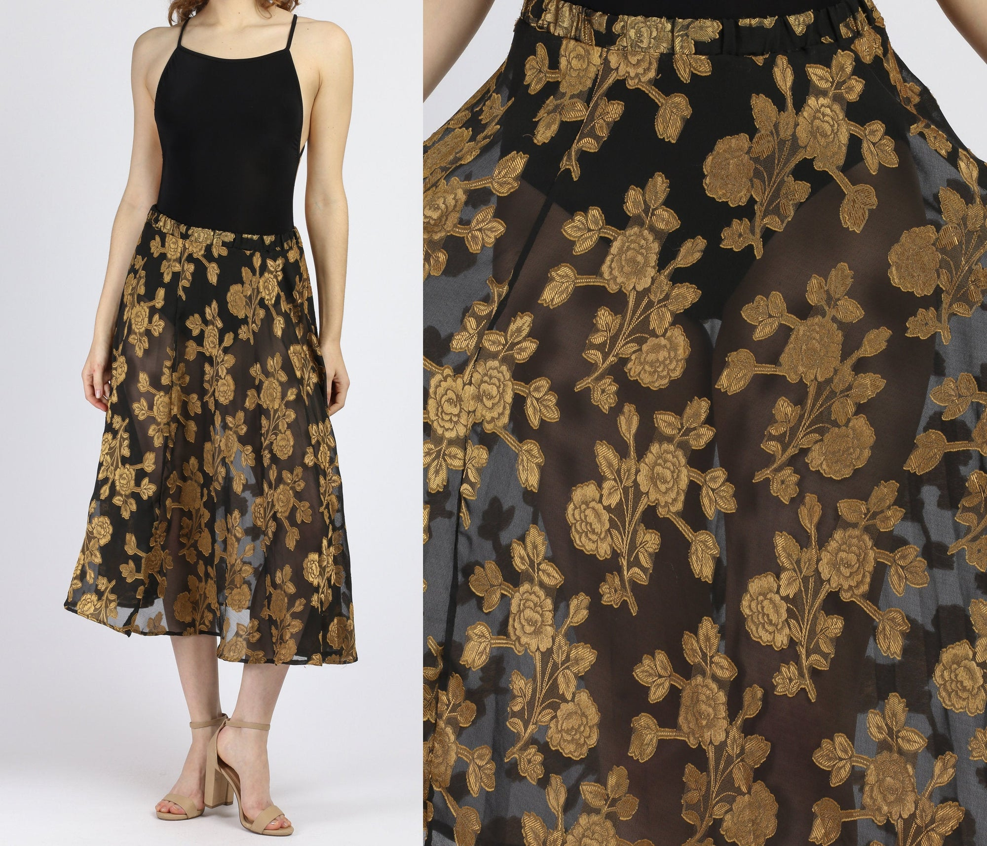 90s Sheer Black & Gold Floral Midi Skirt - Small to Medium