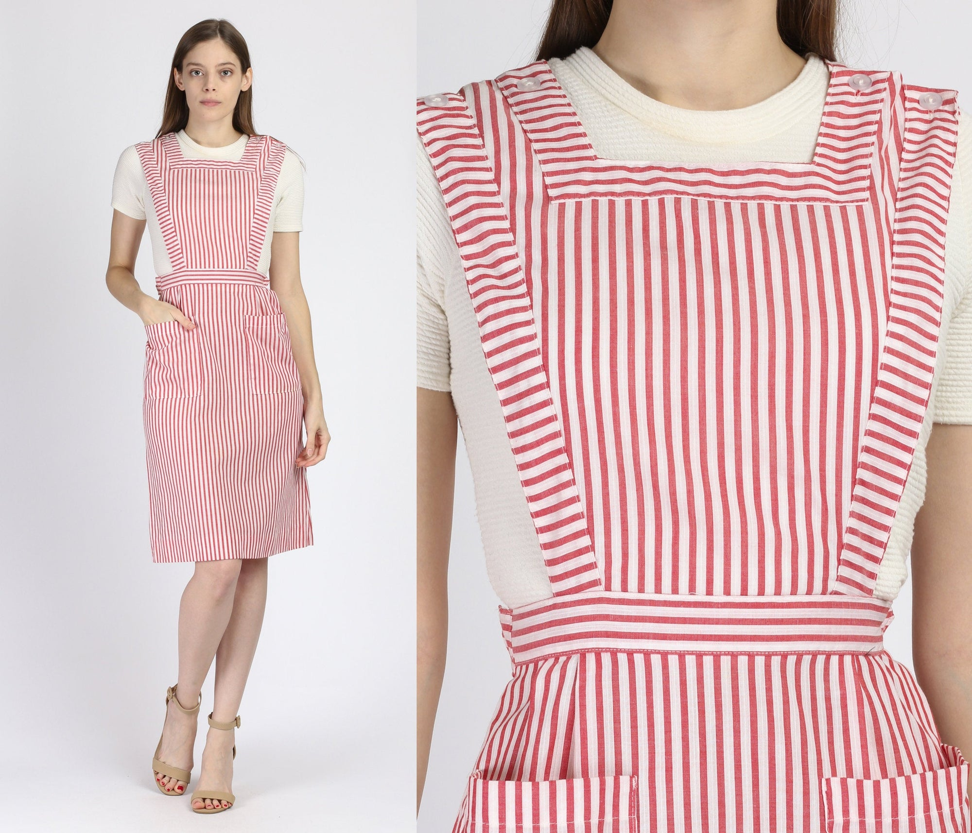 60s 70s Candy Striper Pinafore Nurse Dress - Extra Small