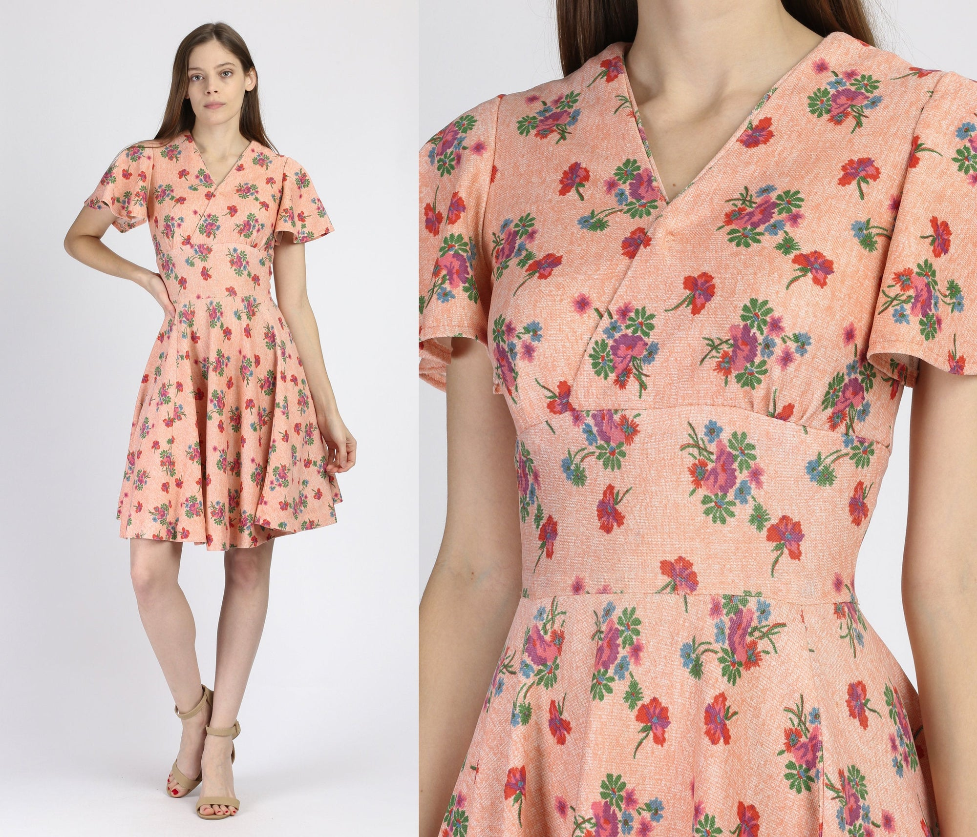 60s Peach Pink Floral Mini Dress - Extra Small