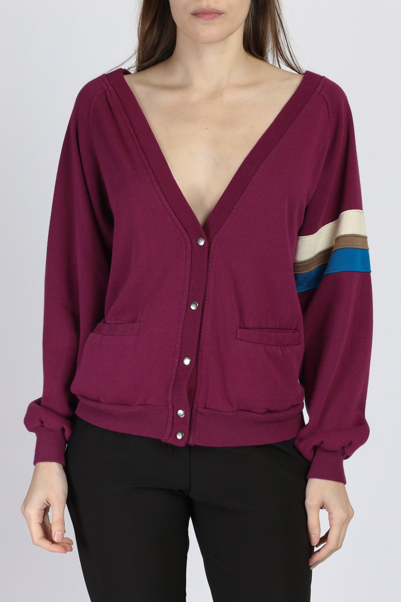 80s V Neck Purple Striped Cardigan Sweatshirt - Large
