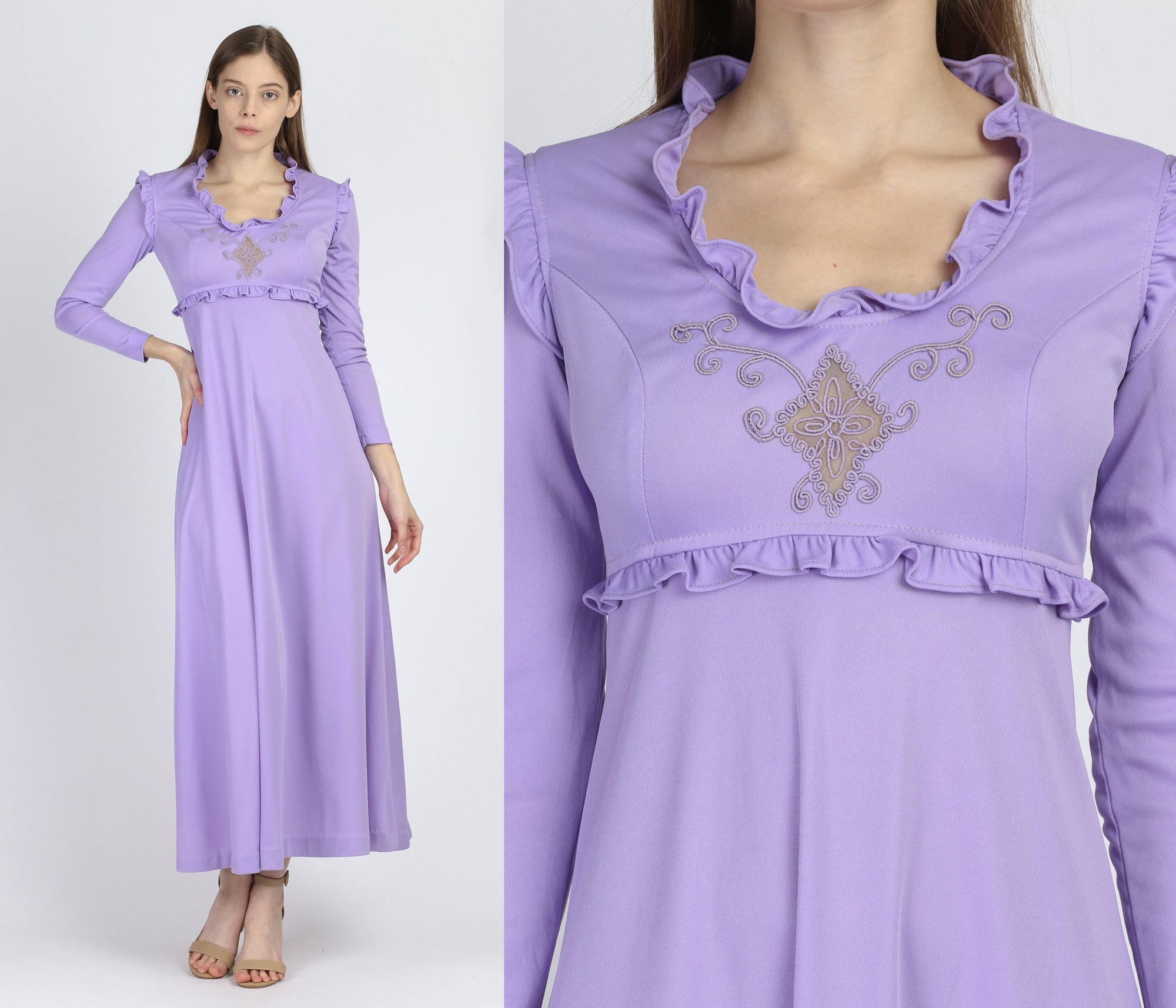 70s Boho Lilac Purple Maxi Dress - Extra Small