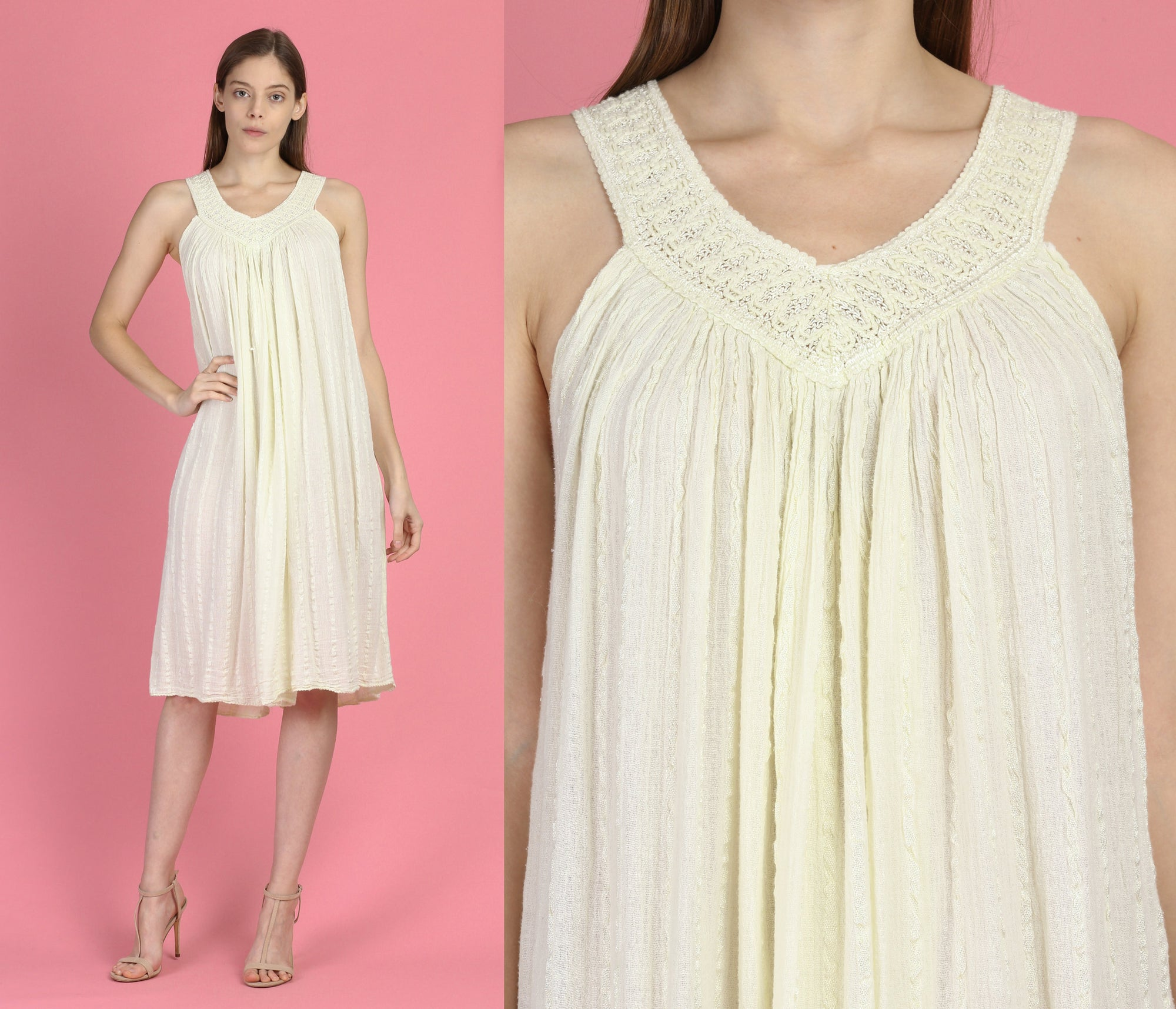 70s Grecian Gauze Dress - One Size