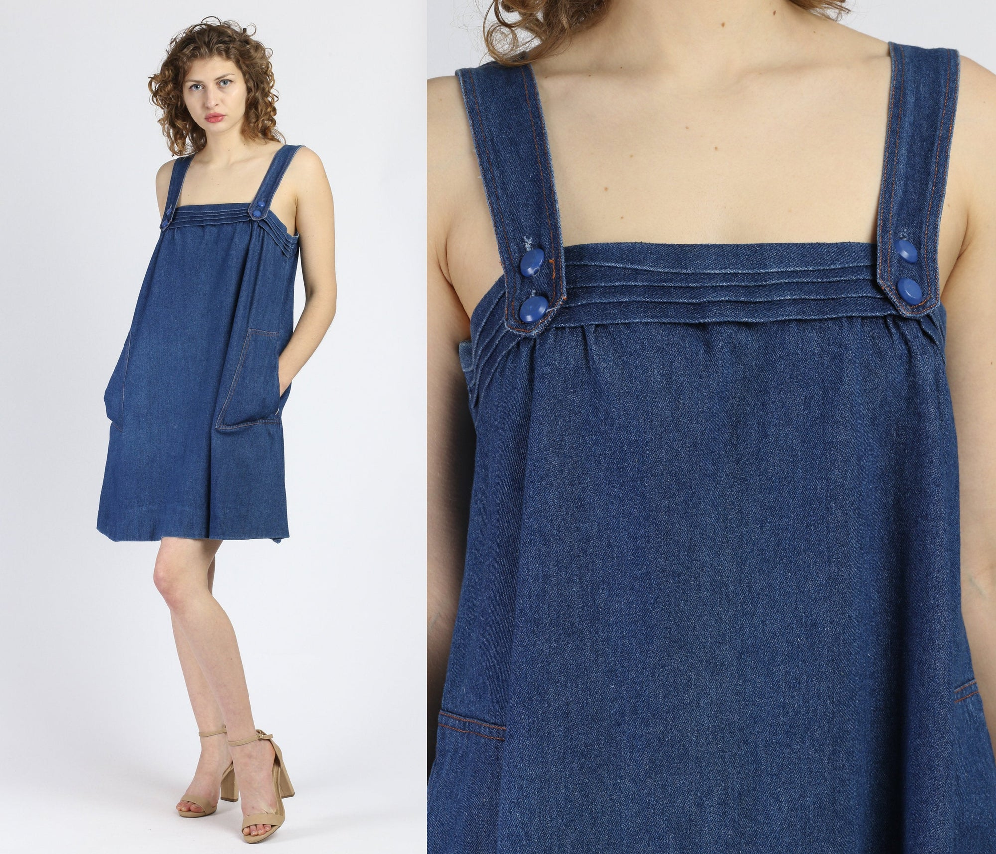 70s Denim Mini Pinafore Dress - Medium