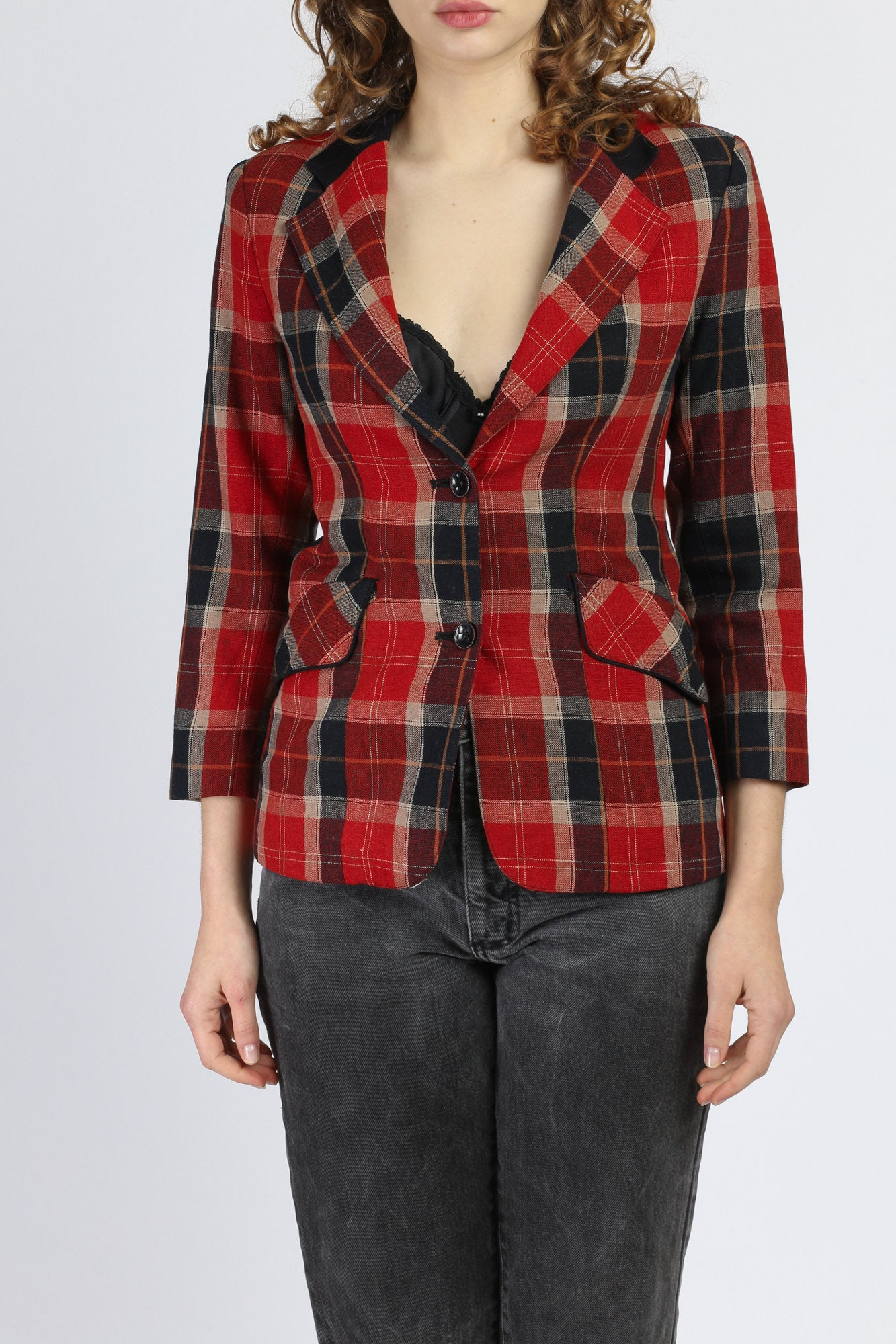 70s Red Plaid Blazer - Extra Small