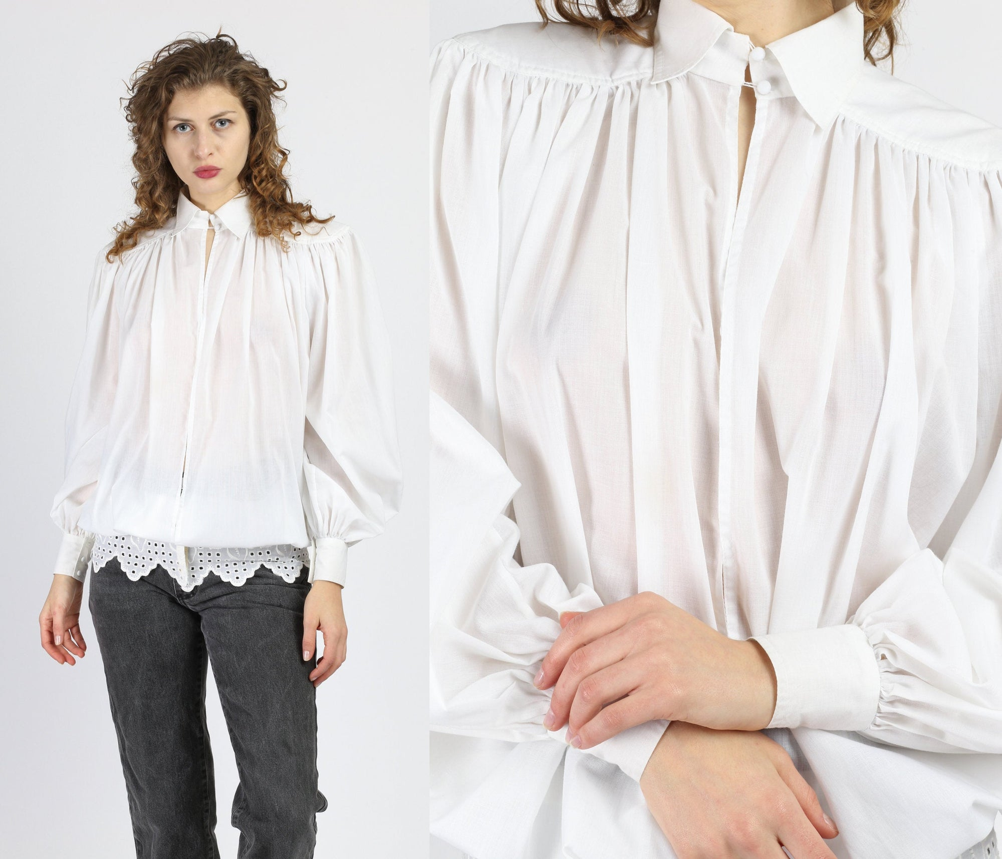80s Oversize White Cotton Peasant Blouse - Medium