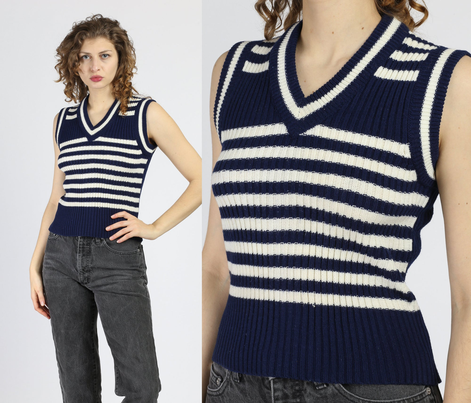 60s 70s Navy Blue Striped Sleeveless Sweater Top - Small