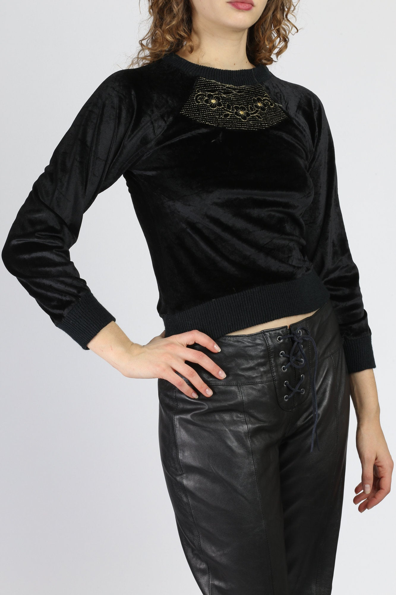 Vintage Black Velvet Crop Top - Petite Small