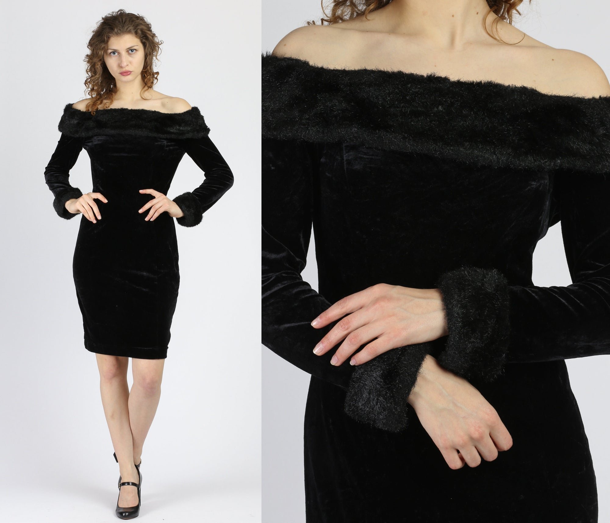 80s Cache Black Velvet Faux Fur Trim Mini Dress - Medium