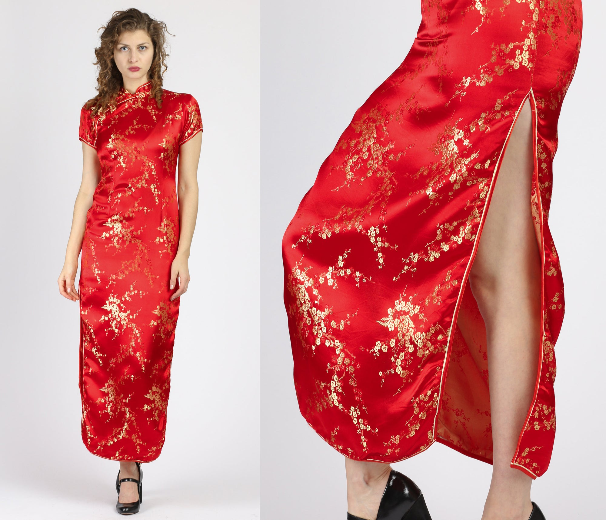 Vintage Red Cheongsam Maxi Dress - XS to Small