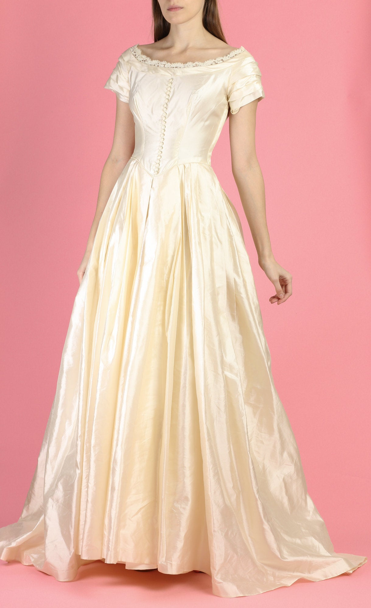Vintage 1950s Ivory Wedding Dress - Petite Extra Small
