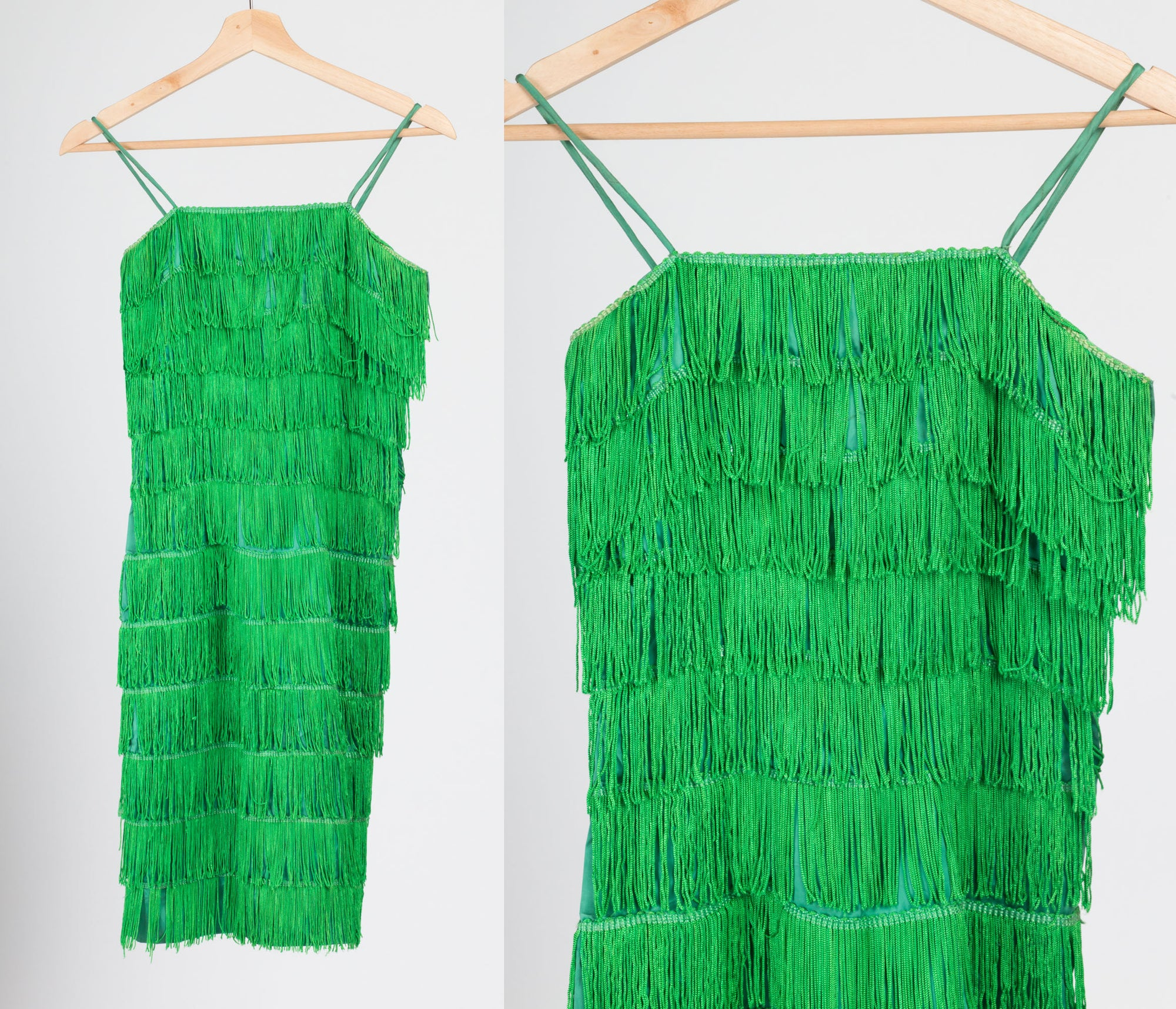 Vintage 60s Green Fringe Flapper Dress - Extra Small