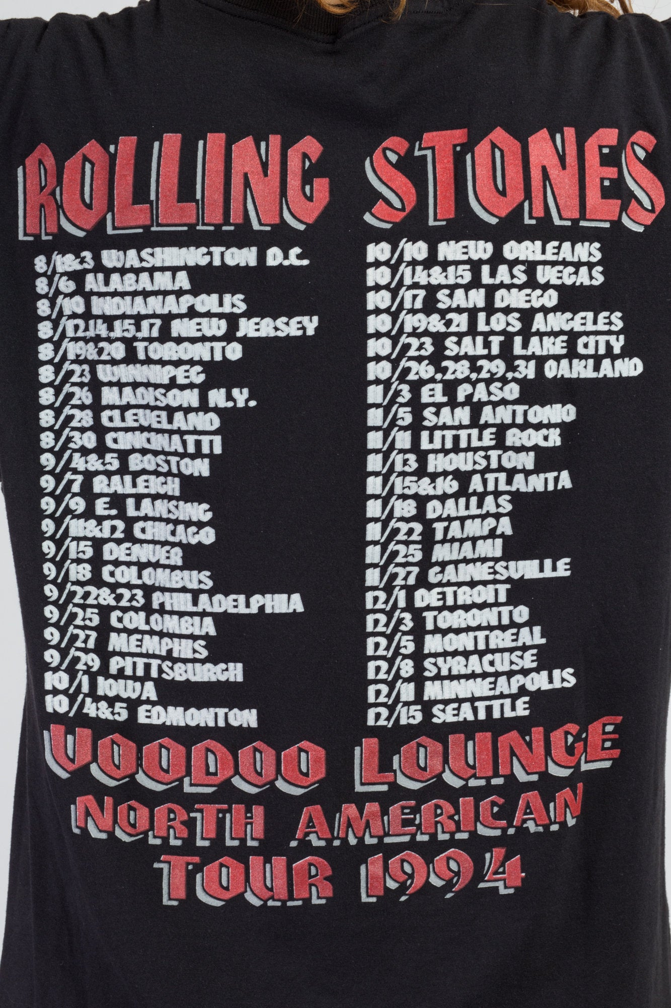 1994 Rolling Stones Voodoo Lounge T Shirt - Large