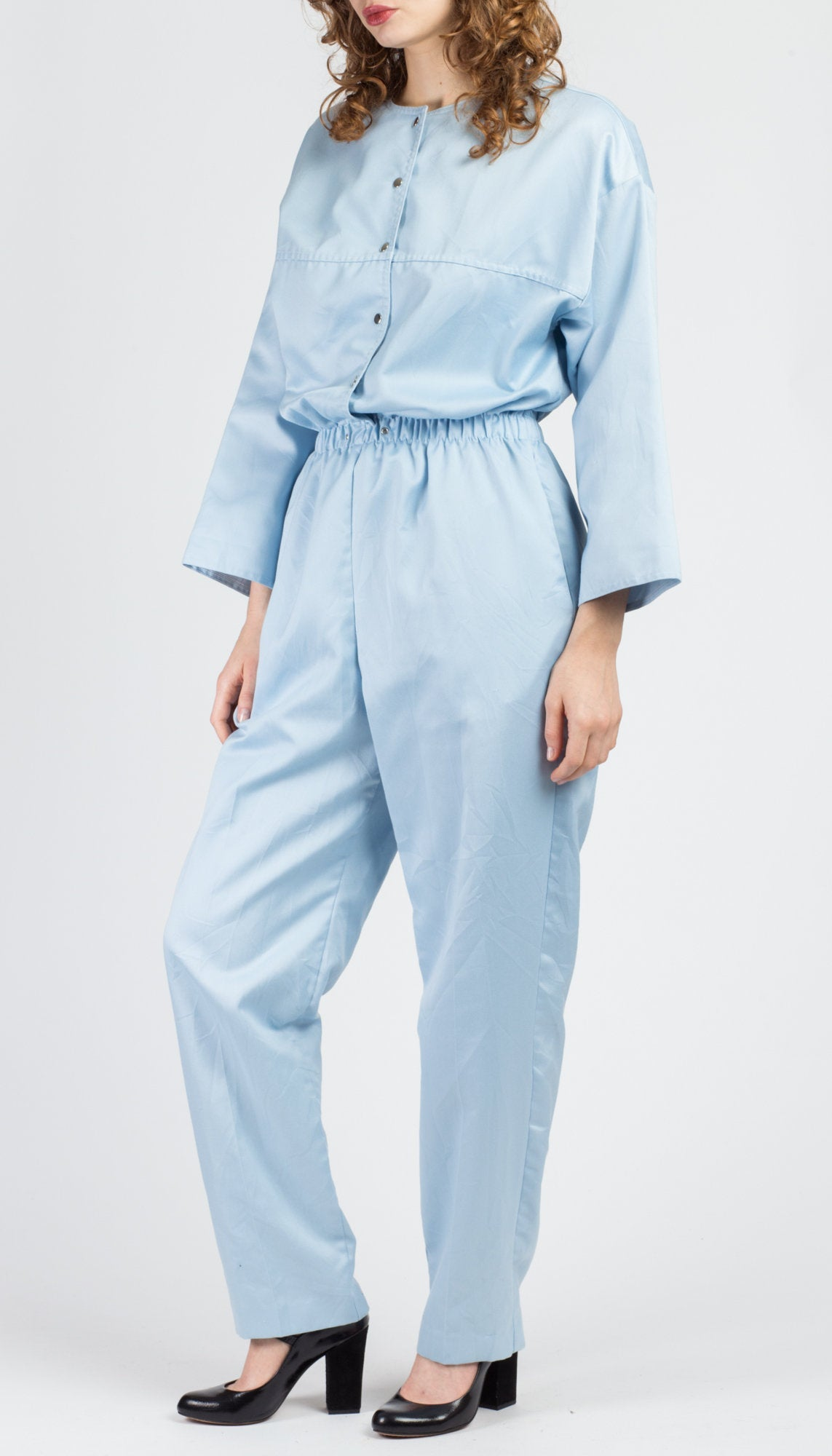 80s Baby Blue Jumpsuit - Medium to Large
