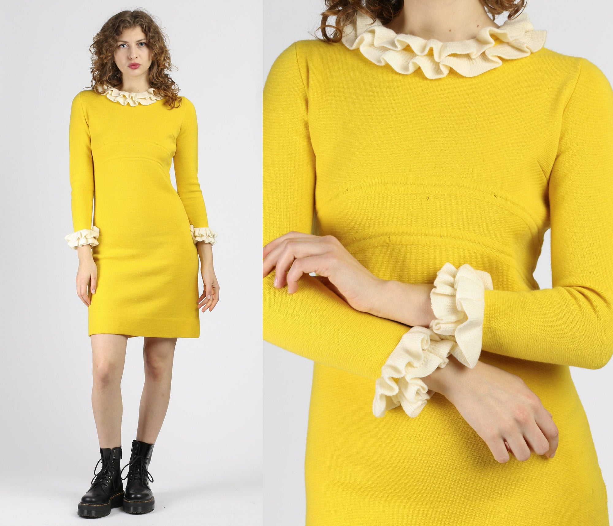 60s Mod Yellow & White Ruffle Knit Mini Dress - Small