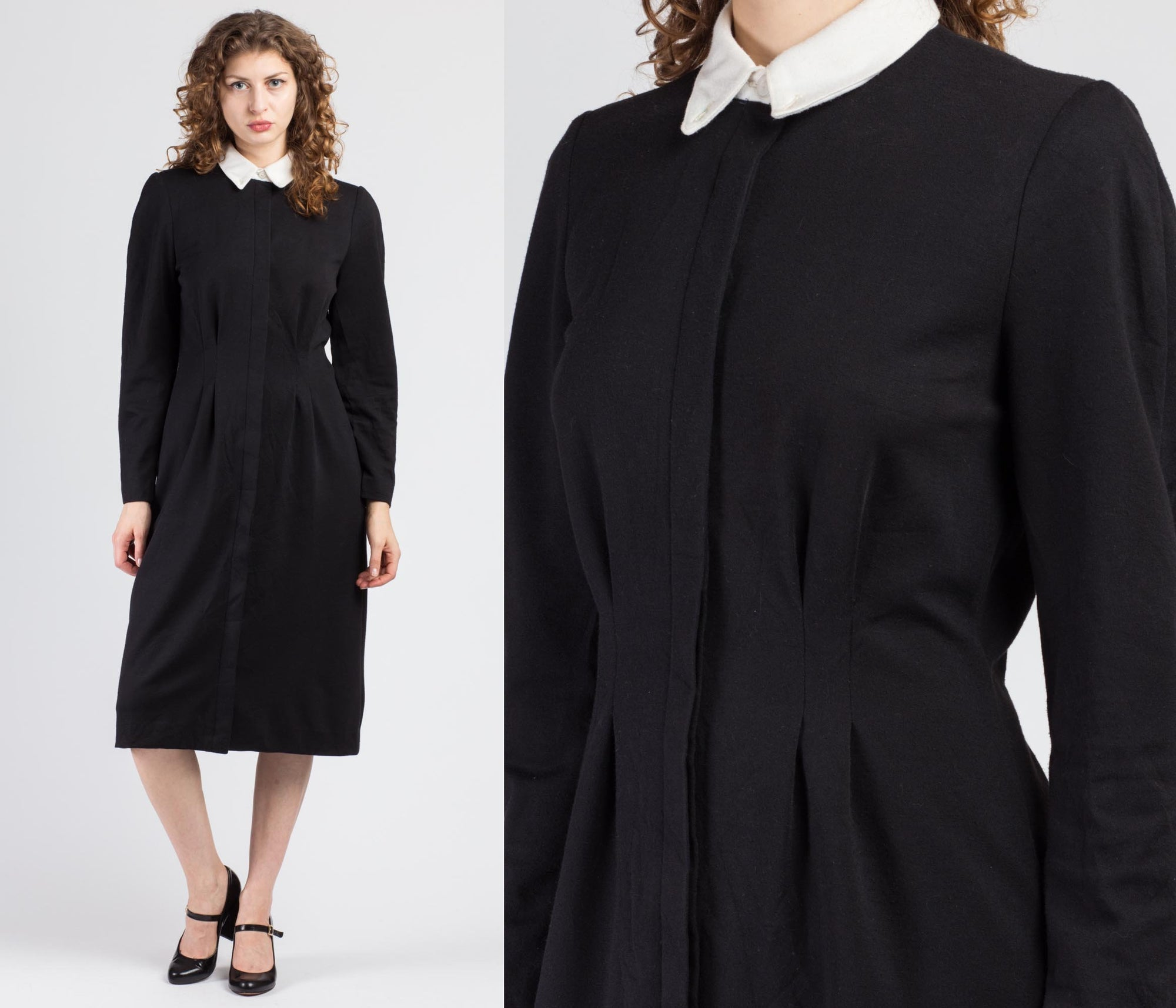 80s Black Contrast Collar Midi Dress - Medium to Large