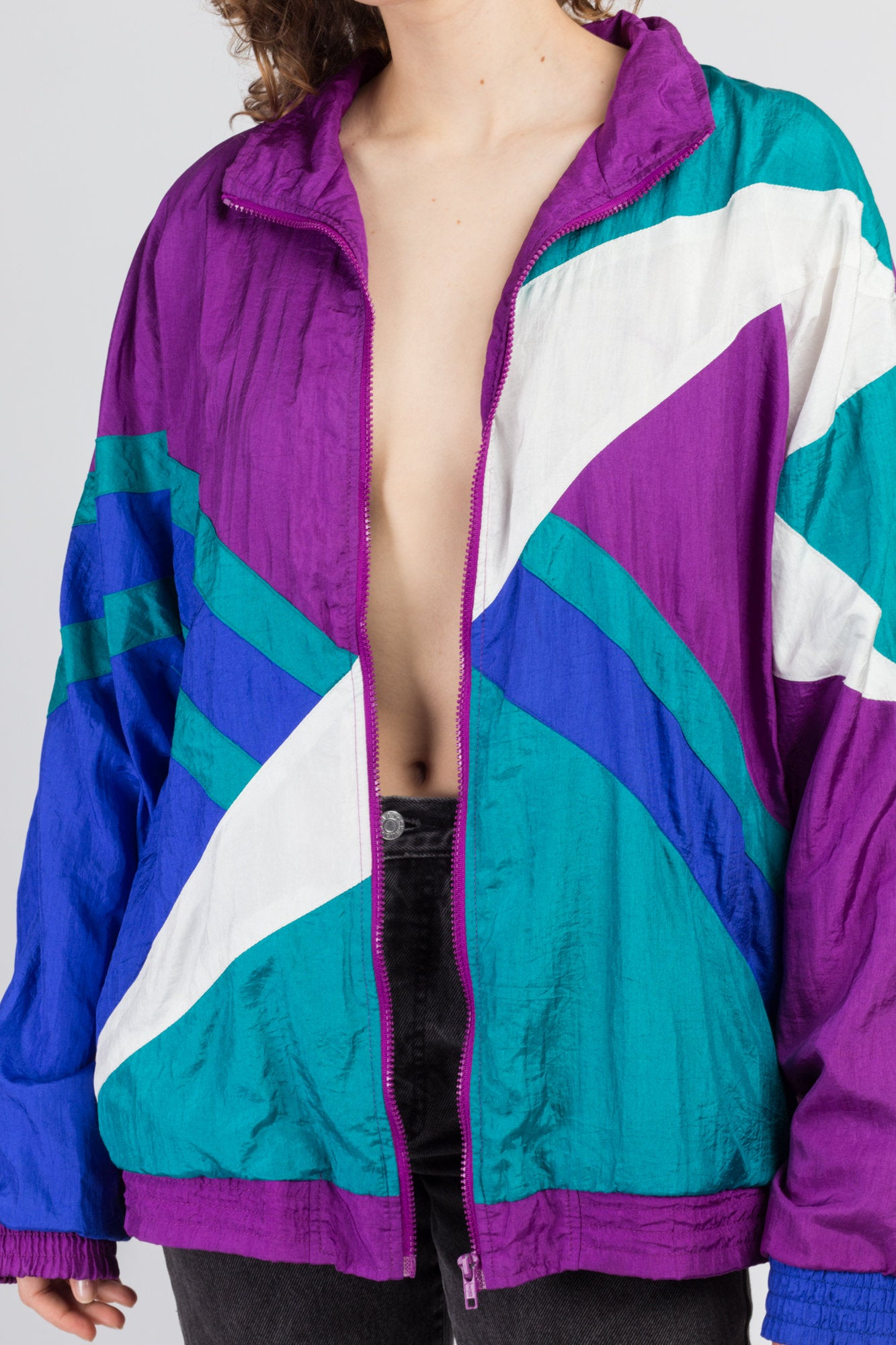 80s Color Block Windbreaker Track Jacket - Extra Large