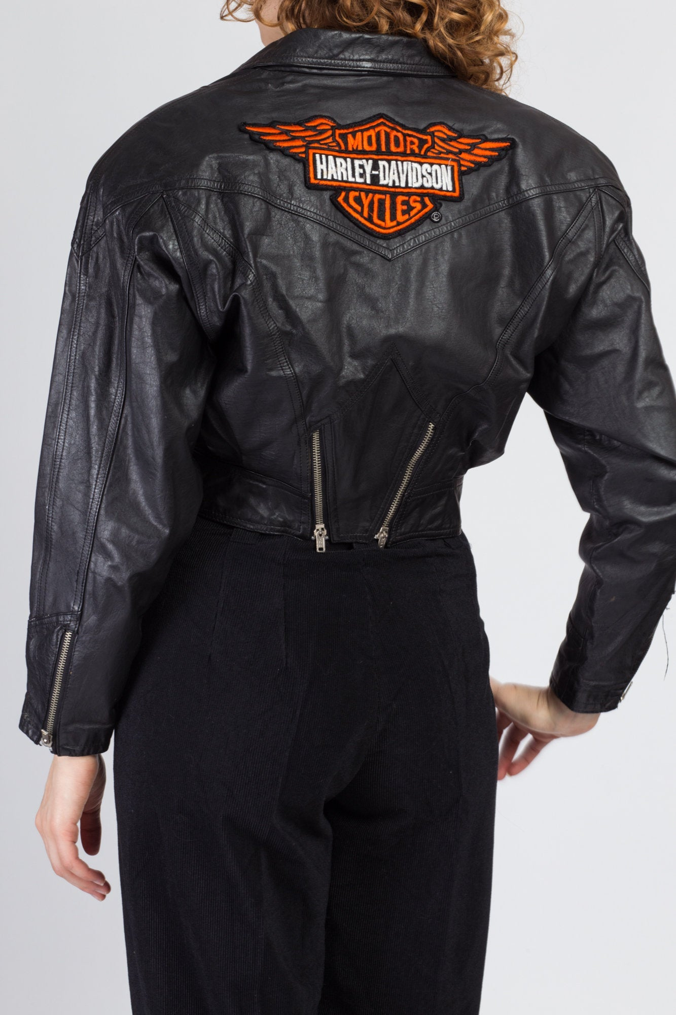 Vintage 80s Harley Davidson Cropped Leather Moto Jacket - Small