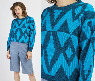 80s Blue Geometric Knit Sweater - Medium