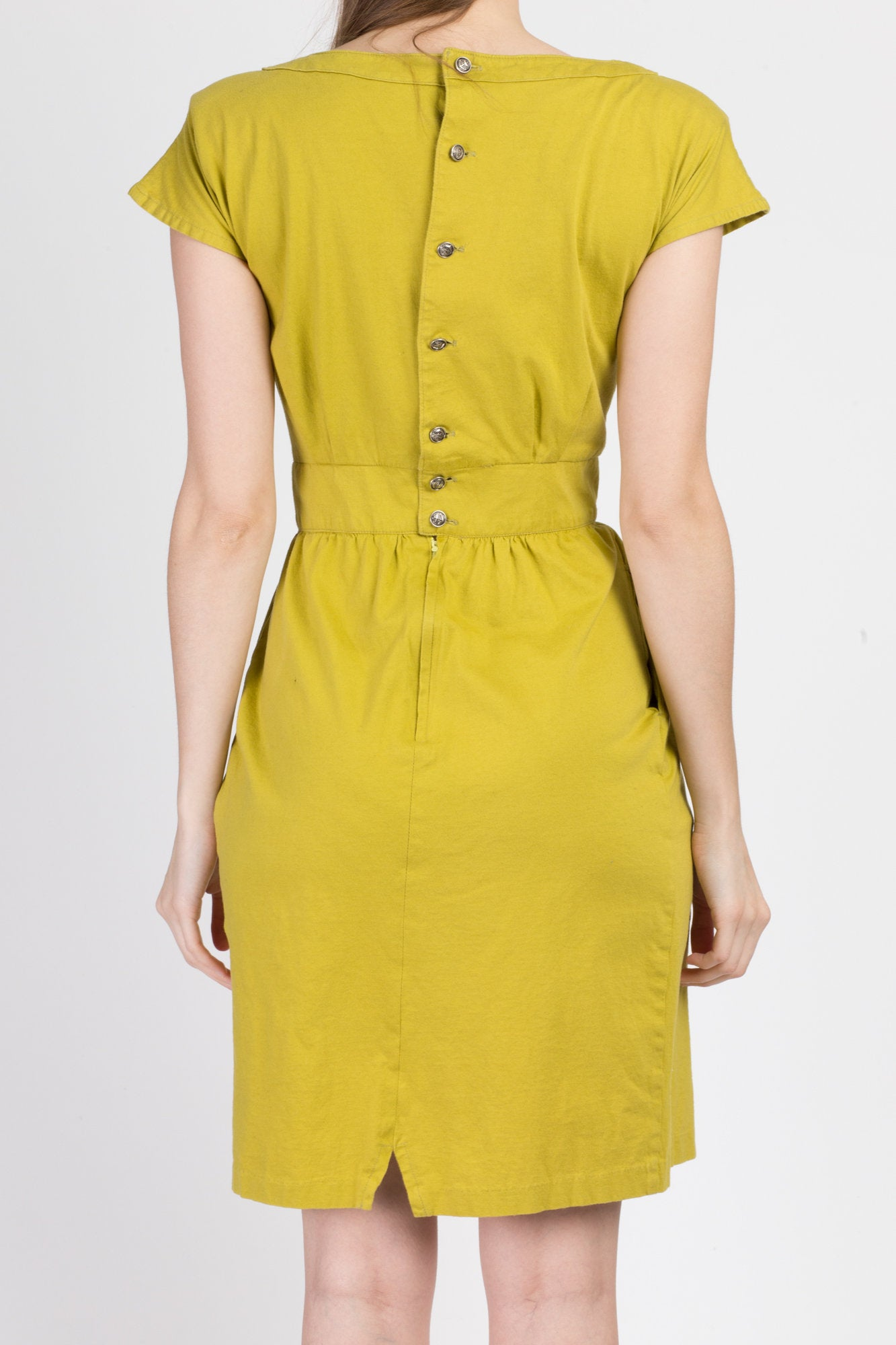 80s Chartreuse Mini Fitted Waist Sheath Dress - Small