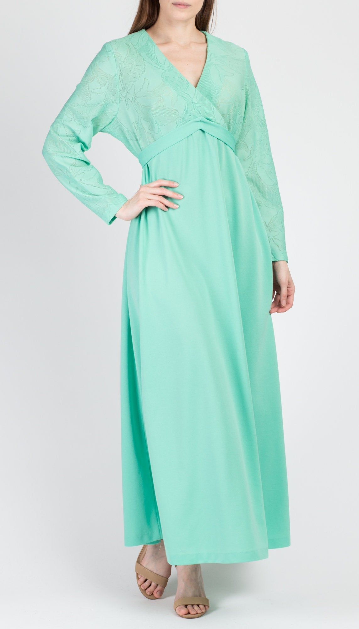 70s Sea Creature Mint Green Maxi Dress - Extra Large