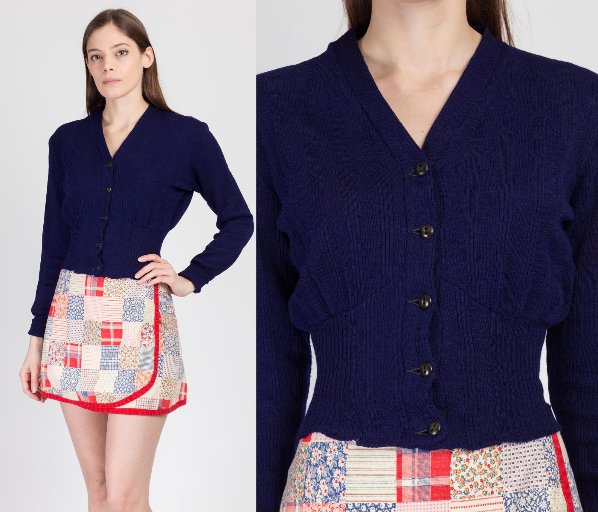 1940s Navy Blue Cropped Cardigan - XS to Small