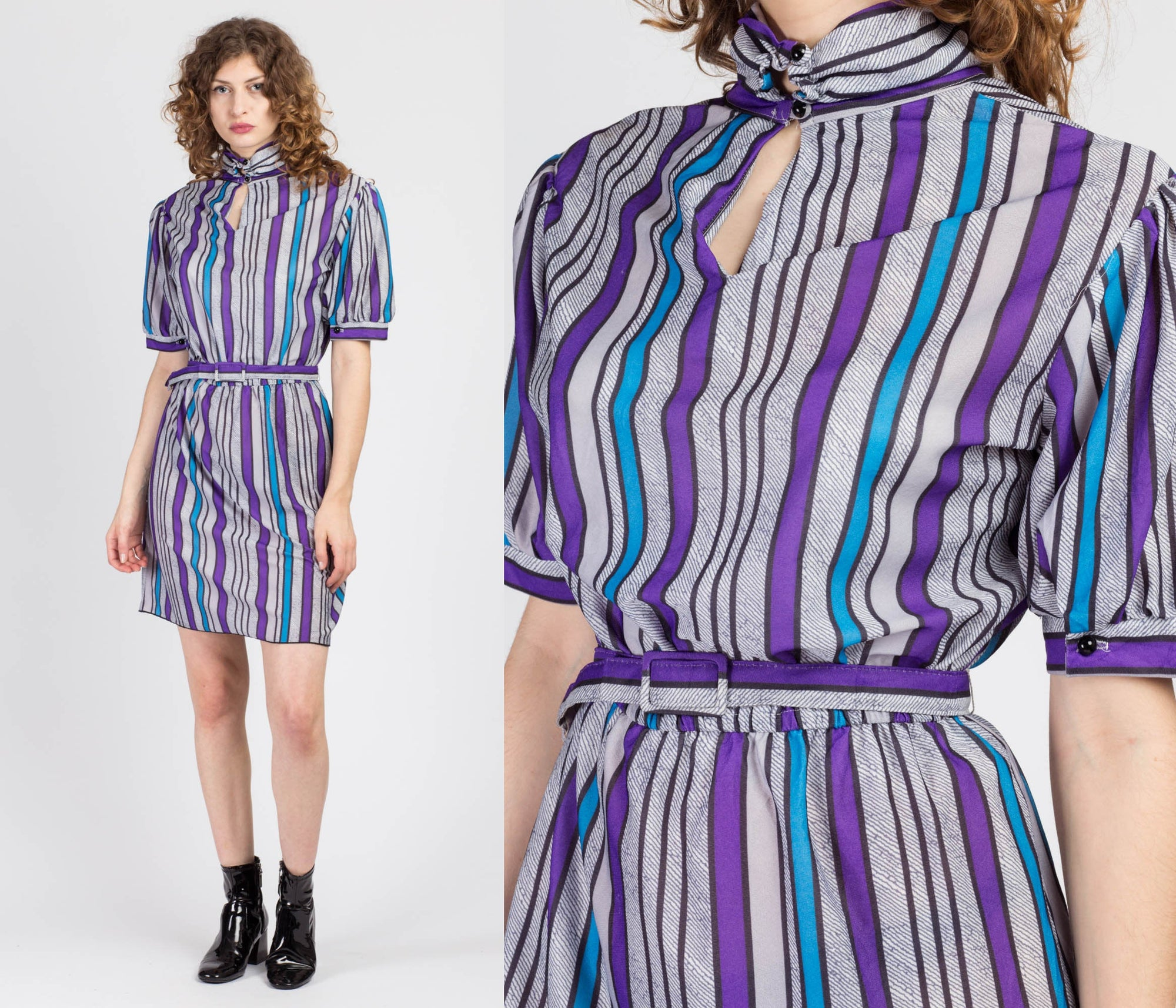 80s Striped Belted Mini Dress - Large to XL